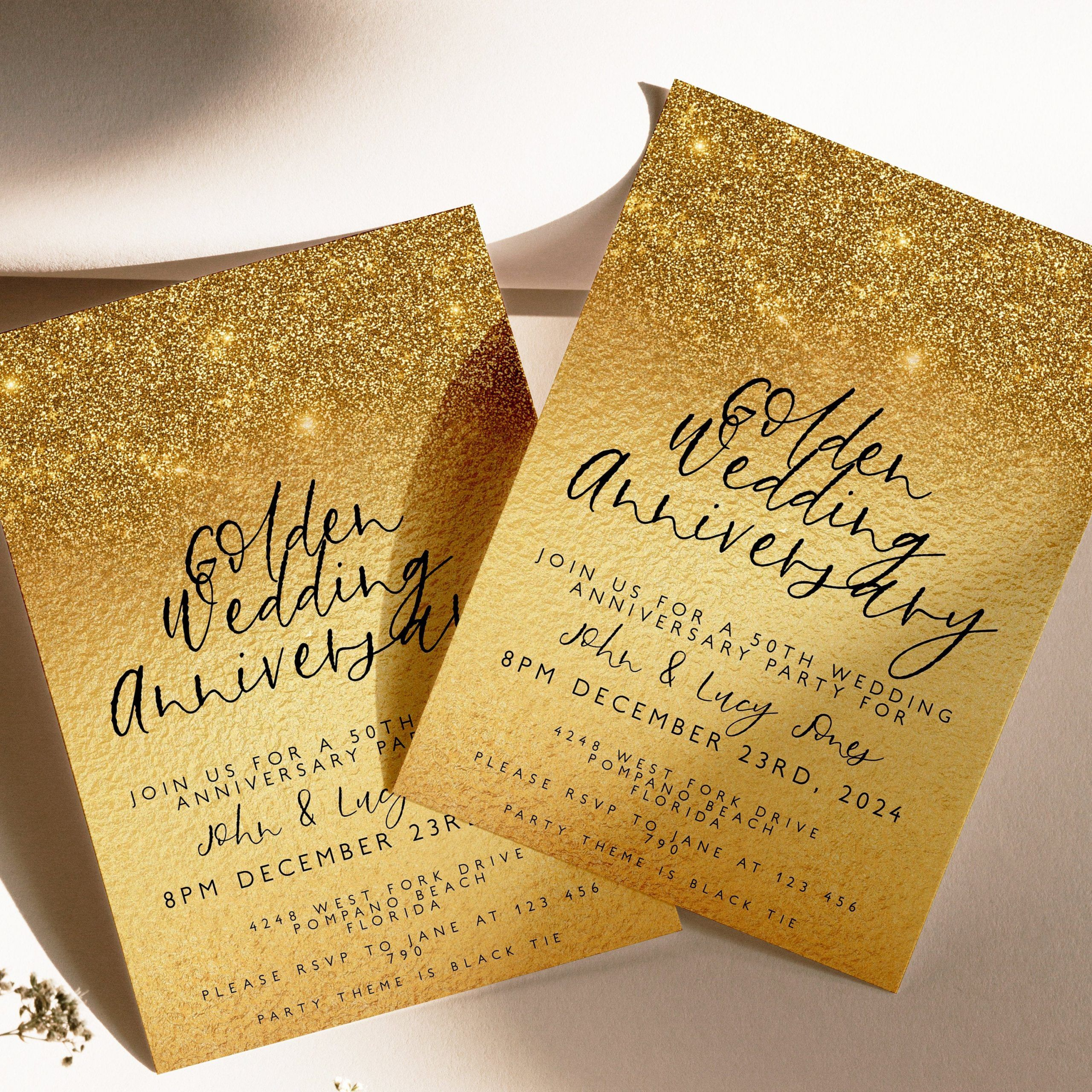 000 Awful 50th Wedding Anniversary Invitation Template Concept  Templates Card Sample GoldenFull