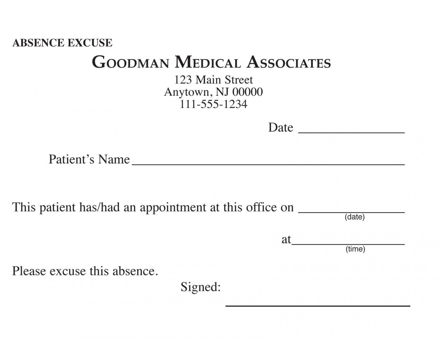 000 Awful Doctor Excuse Template For Work High Definition  Missing Note1400