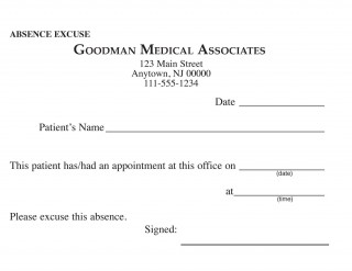 000 Awful Doctor Excuse Template For Work High Definition  Missing Note320