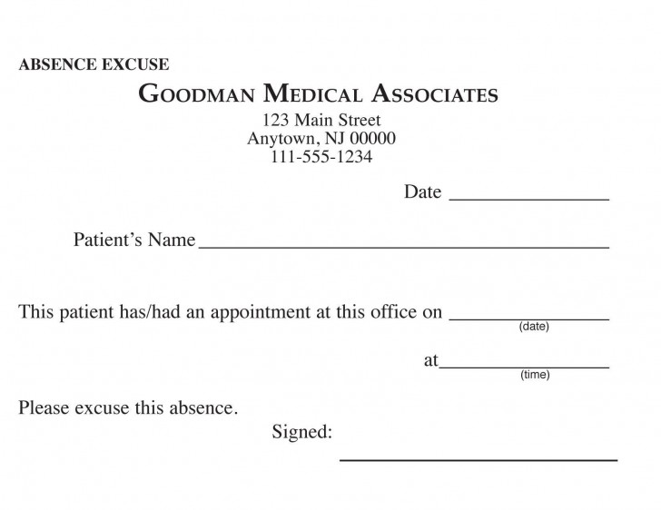 000 Awful Doctor Excuse Template For Work High Definition  Missing Note728