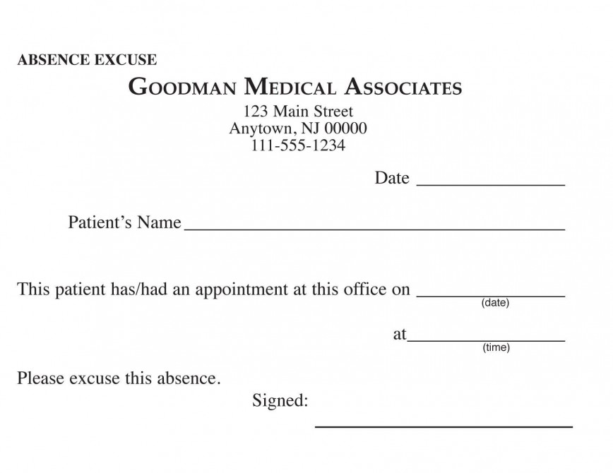 000 Awful Doctor Excuse Template For Work High Definition  Missing Note868