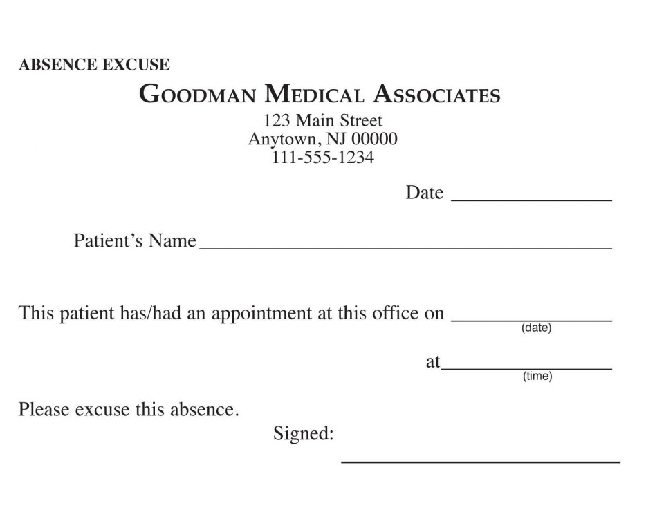 000 Awful Doctor Excuse Template For Work High Definition  Missing Note960