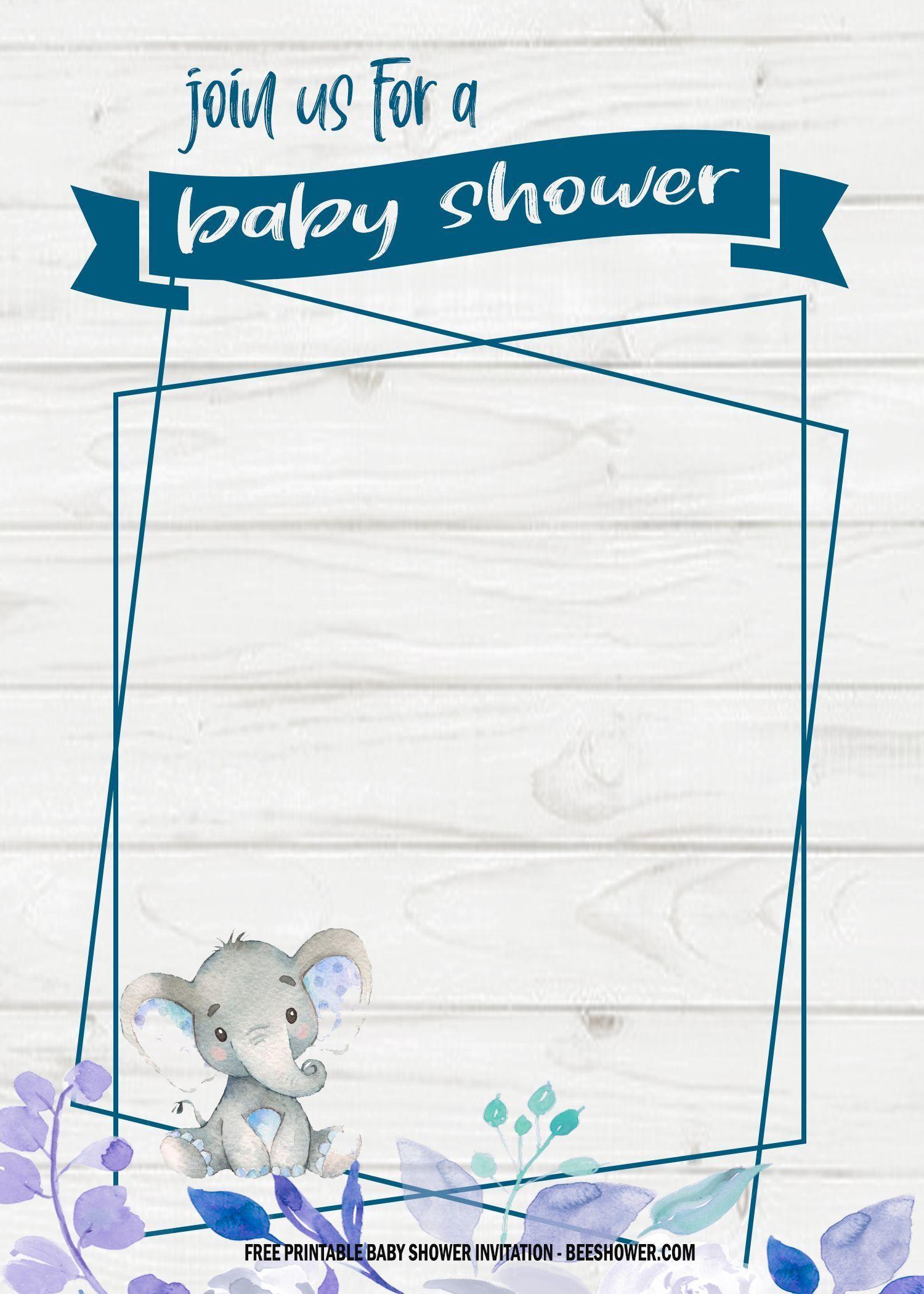 000 Awful Elephant Baby Shower Invitation Template Photo  Templates Free Pdf BoyFull