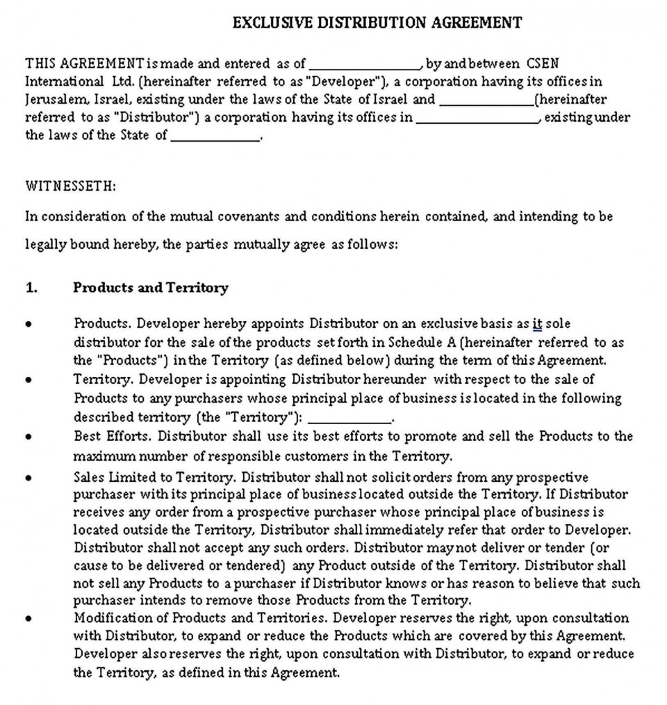 000 Awful Exclusive Distribution Agreement Template Word High Def  Format960