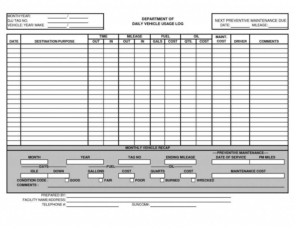 000 Awful Fleet Vehicle Maintenance Log Template Highest Quality  ExcelLarge