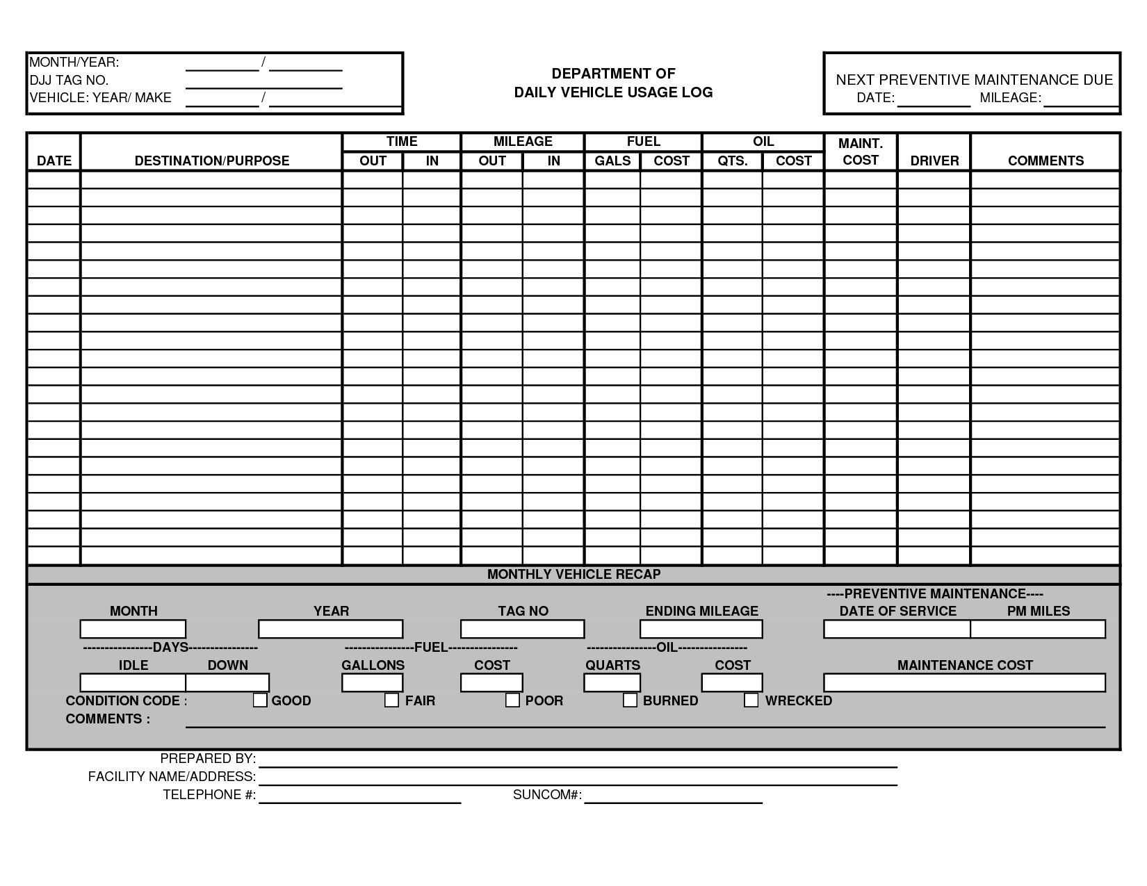 000 Awful Fleet Vehicle Maintenance Log Template Highest Quality  ExcelFull