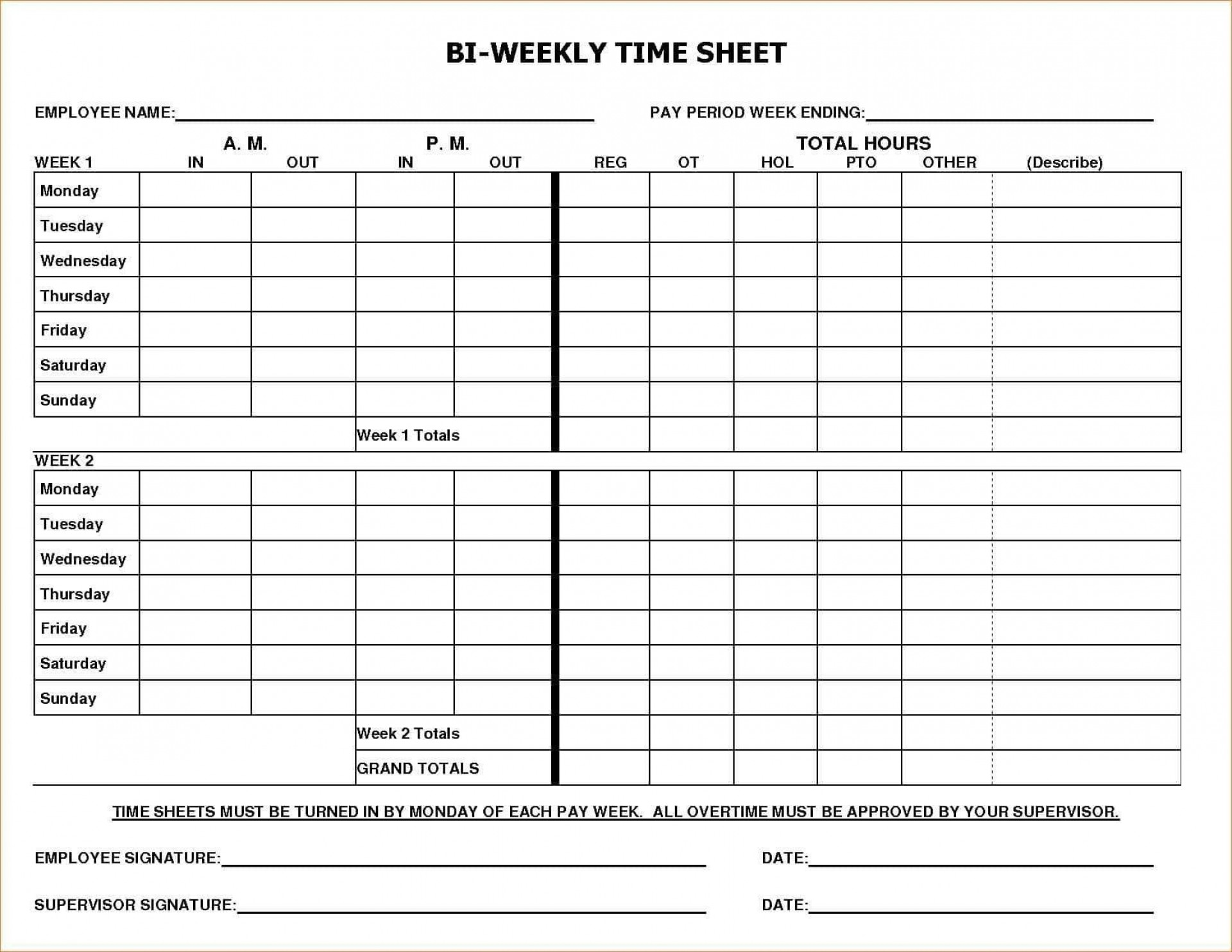 000 Awful Free Biweekly Timesheet Template Excel Example 1920