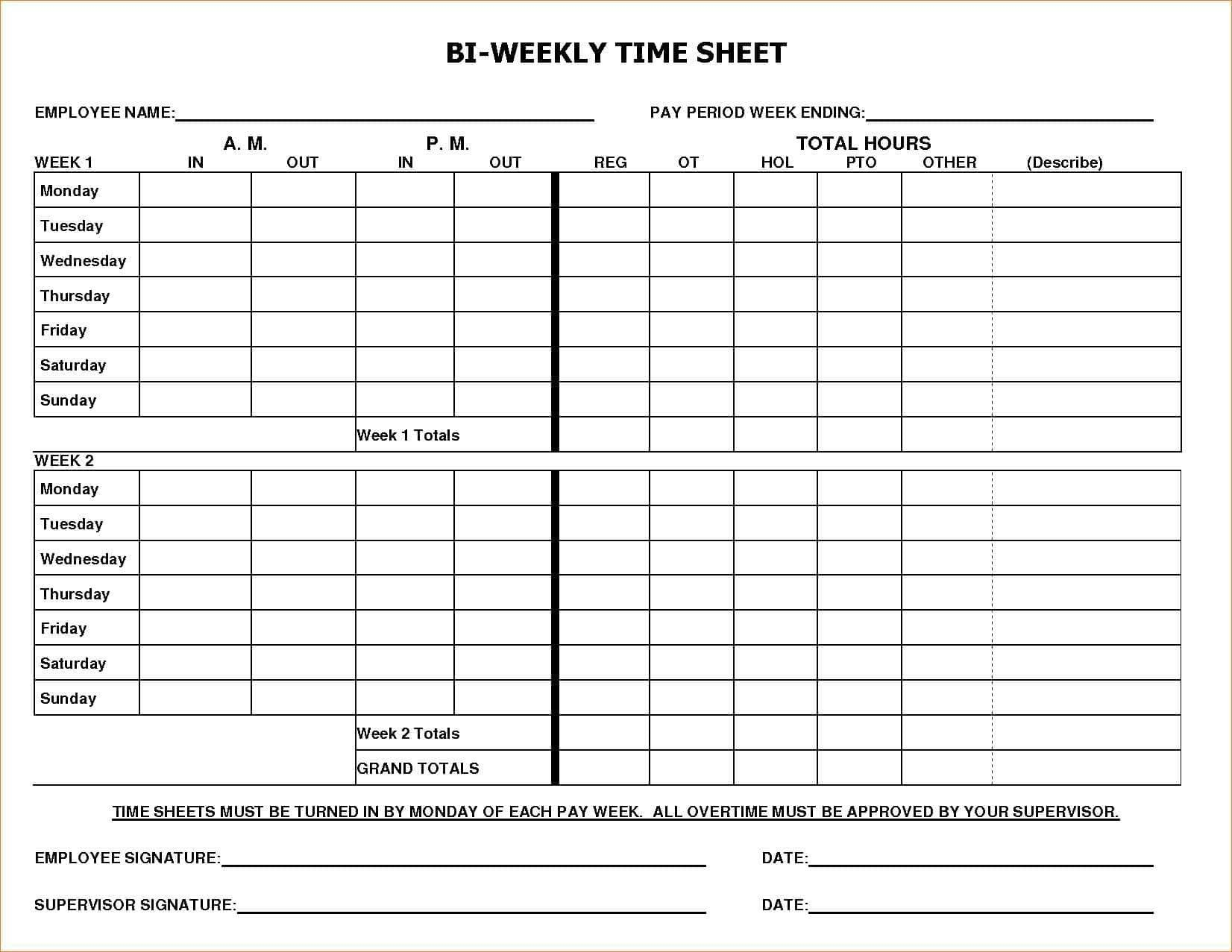000 Awful Free Biweekly Timesheet Template Excel Example Full