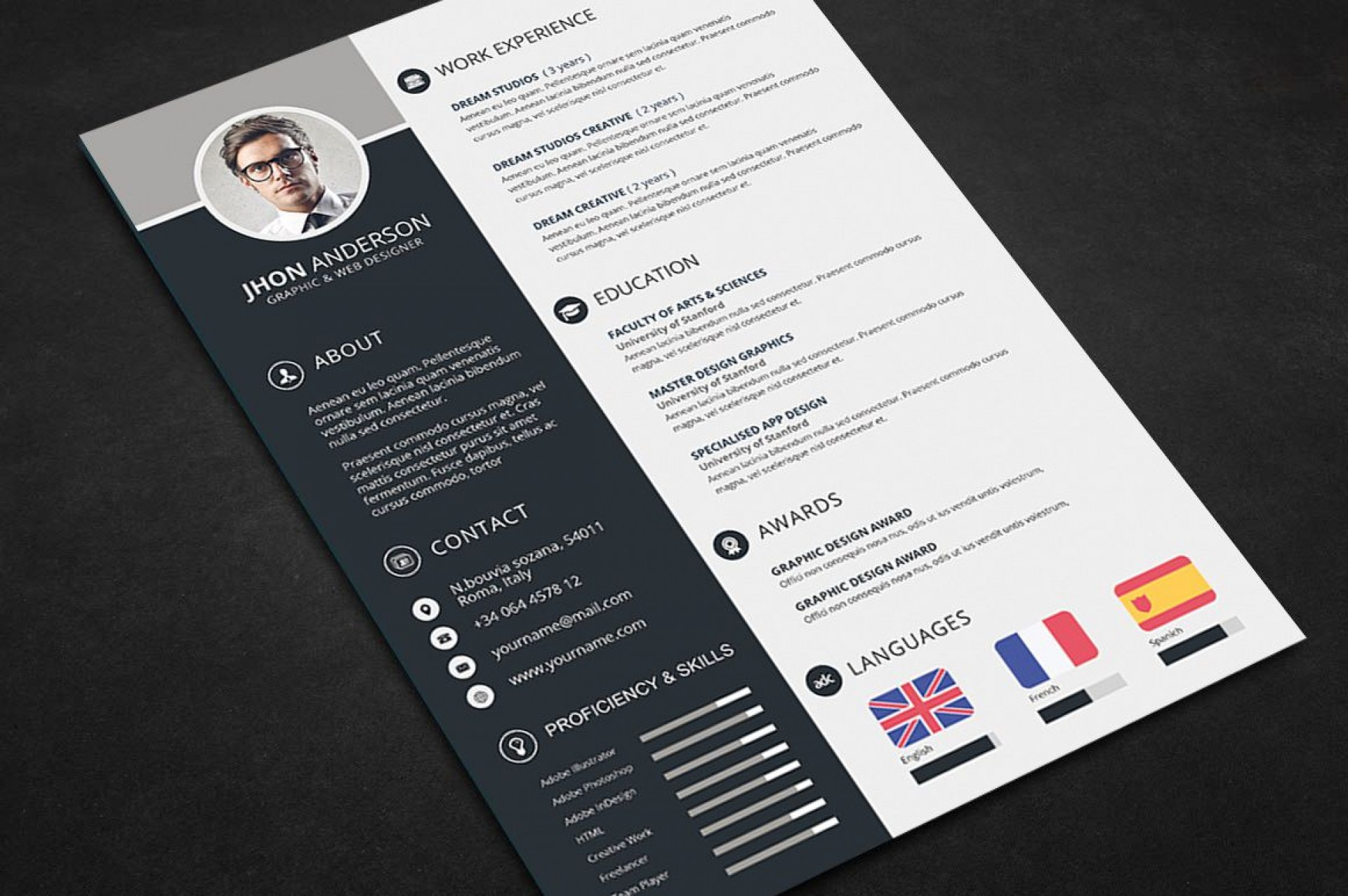 000 Awful Free Psd Resume Template High Def  Templates Attractive Download Creative (psd Id) Curriculum Vitae1920