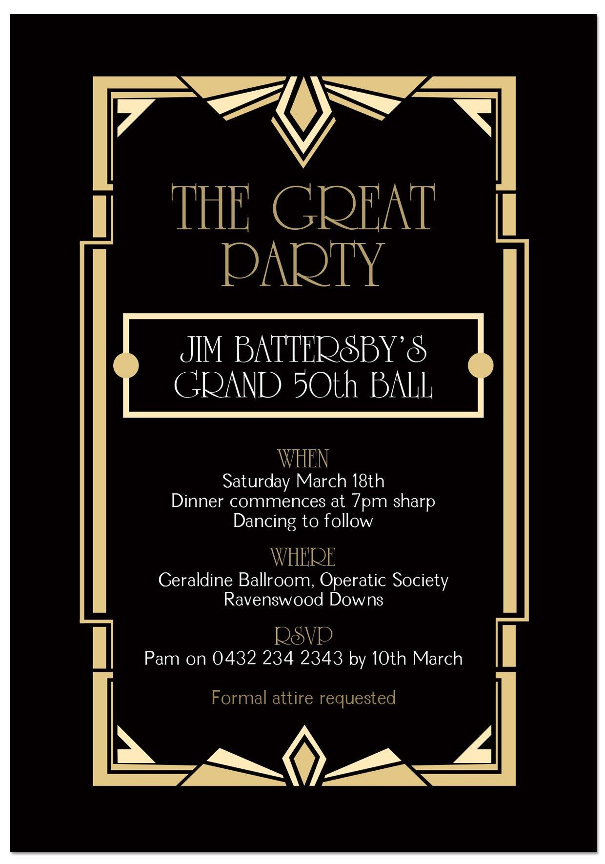 000 Awful Great Gatsby Invitation Template Highest Quality  Templates Free Download BlankFull