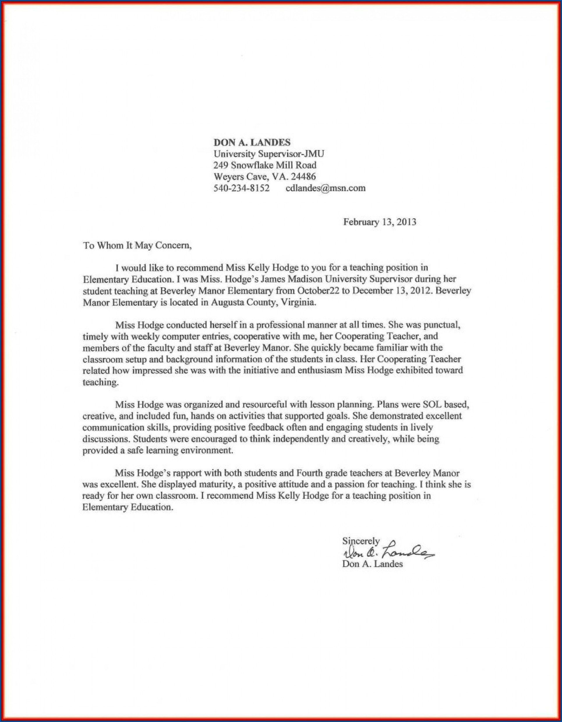 000 Awful Letter Of Recommendation For Student Teacher From Cooperating Template Idea Full
