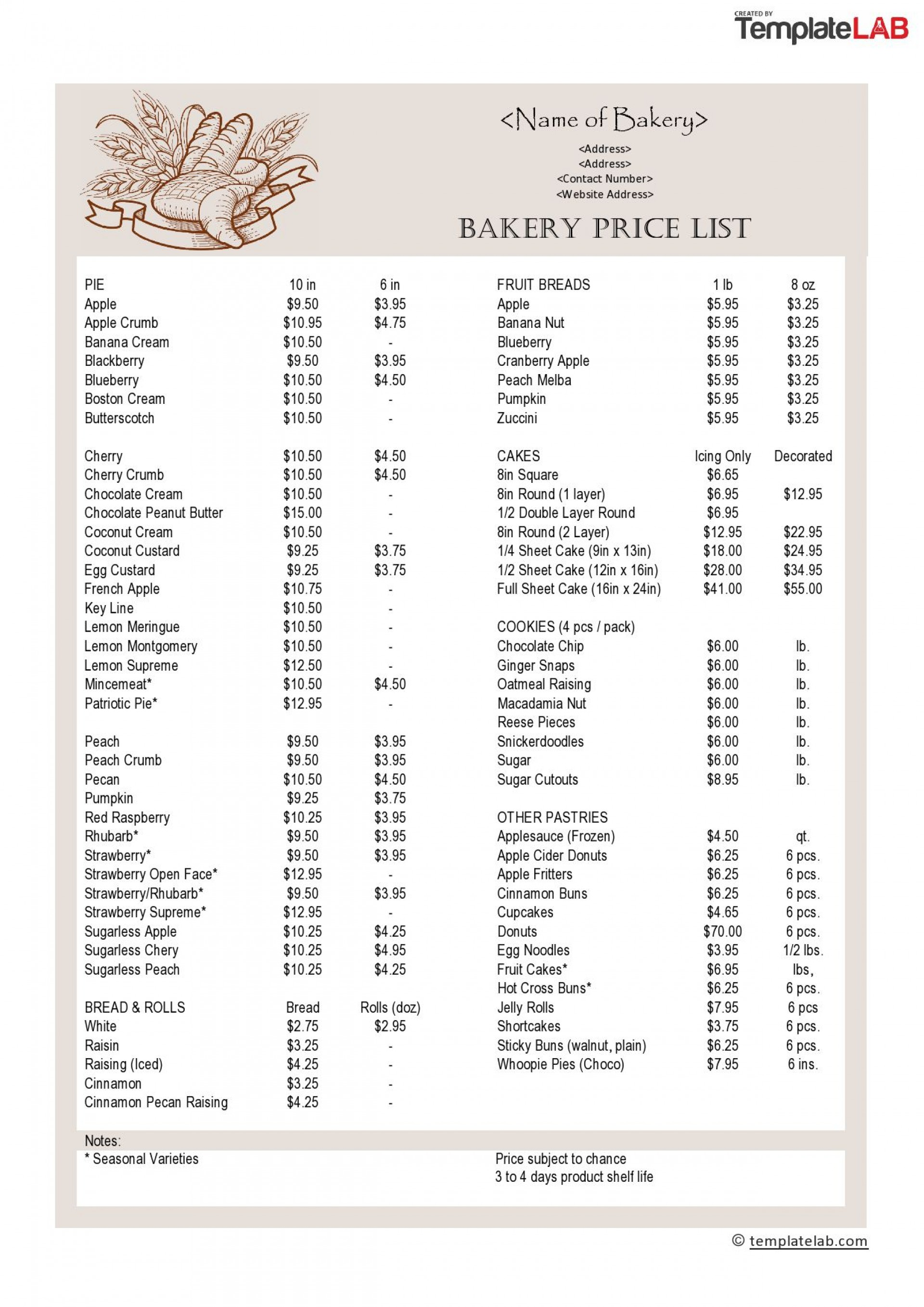 000 Awful Wholesale Price List Template Highest Quality  Bakery1920