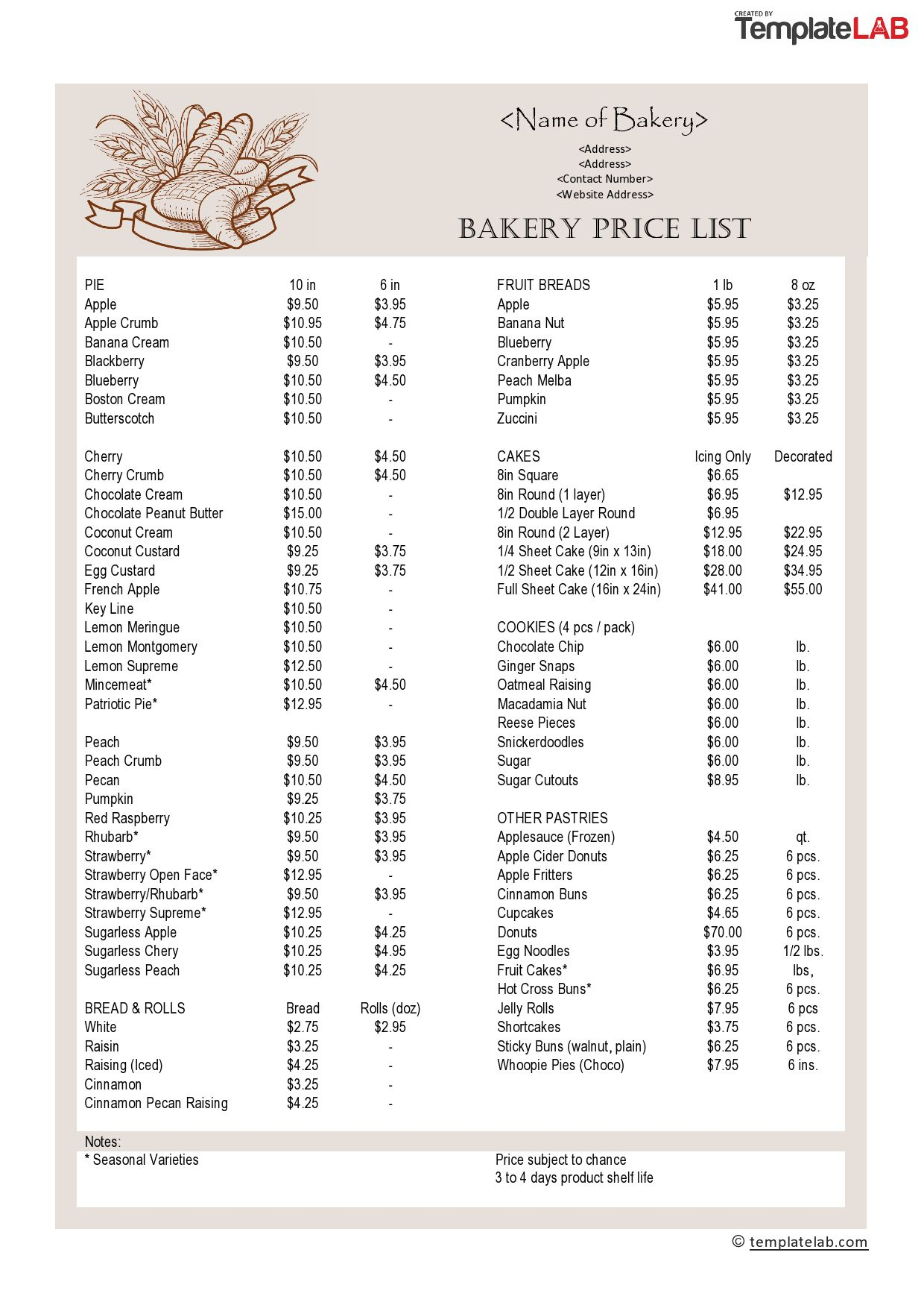 000 Awful Wholesale Price List Template Highest Quality  BakeryFull