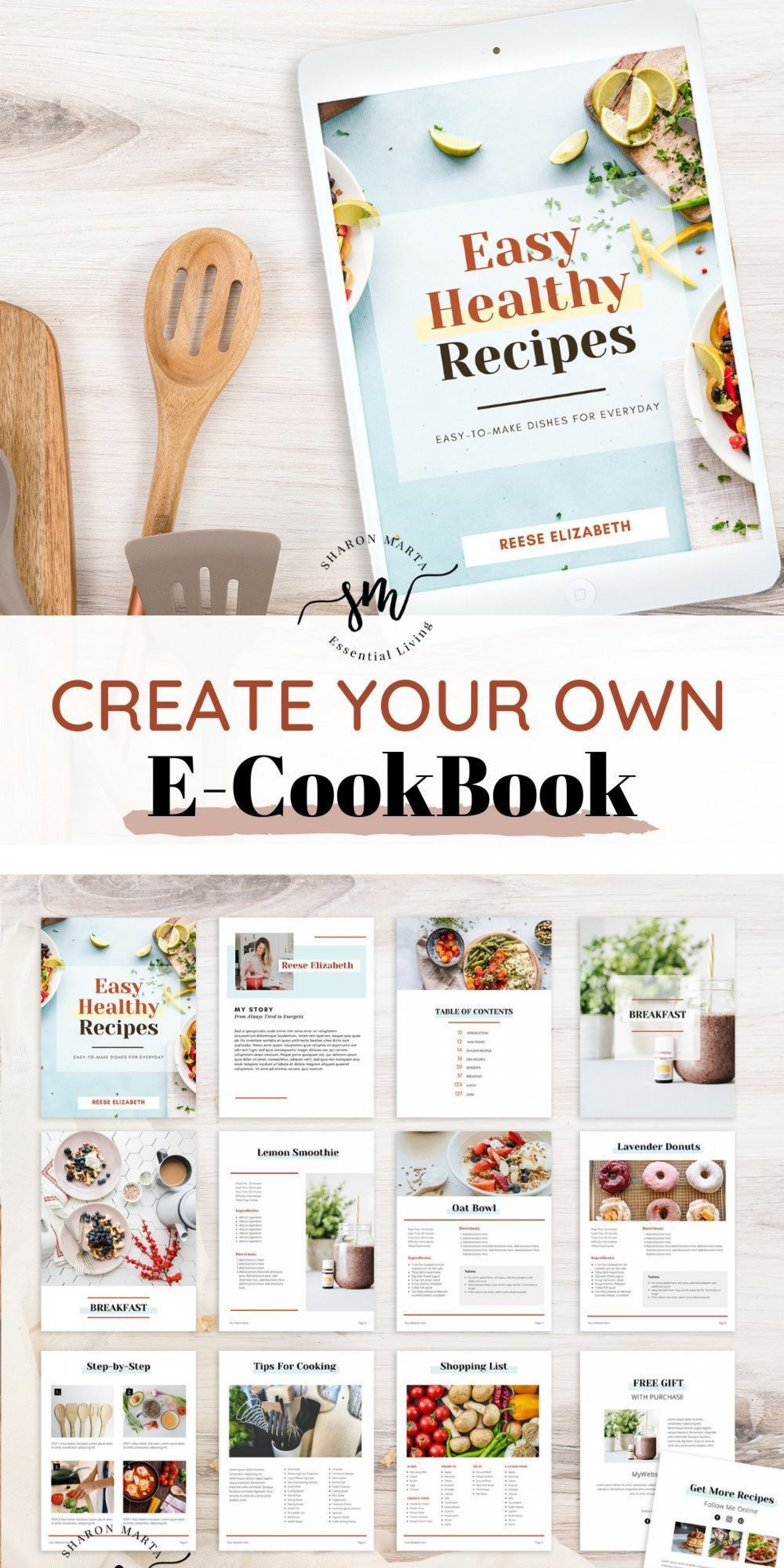 000 Beautiful Create Your Own Cookbook Template Concept  Free1920