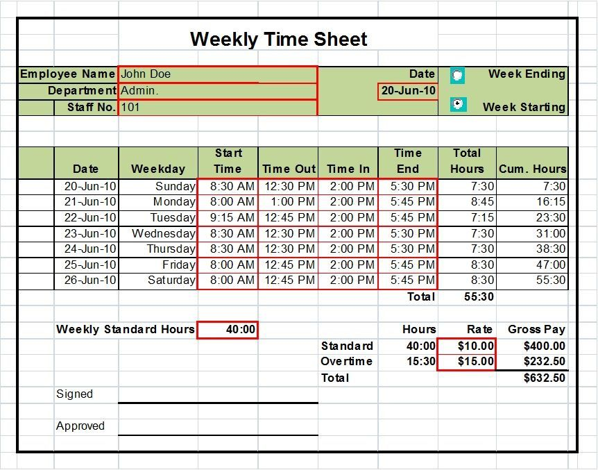 000 Beautiful Excel Timesheet Template With Formula Inspiration  Formulas Biweekly DailyFull