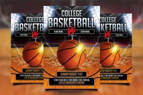 000 Beautiful Free Basketball Flyer Template Photo  Game 3 On Tournament Word480