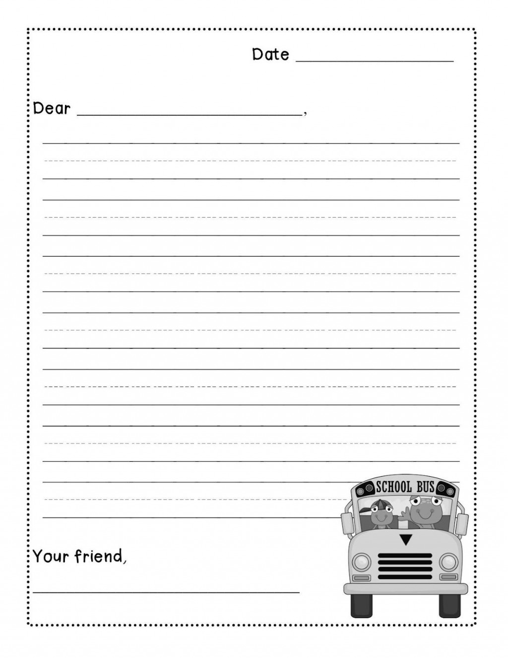 000 Beautiful Free Letter Writing Template 2nd Grade Sample Large