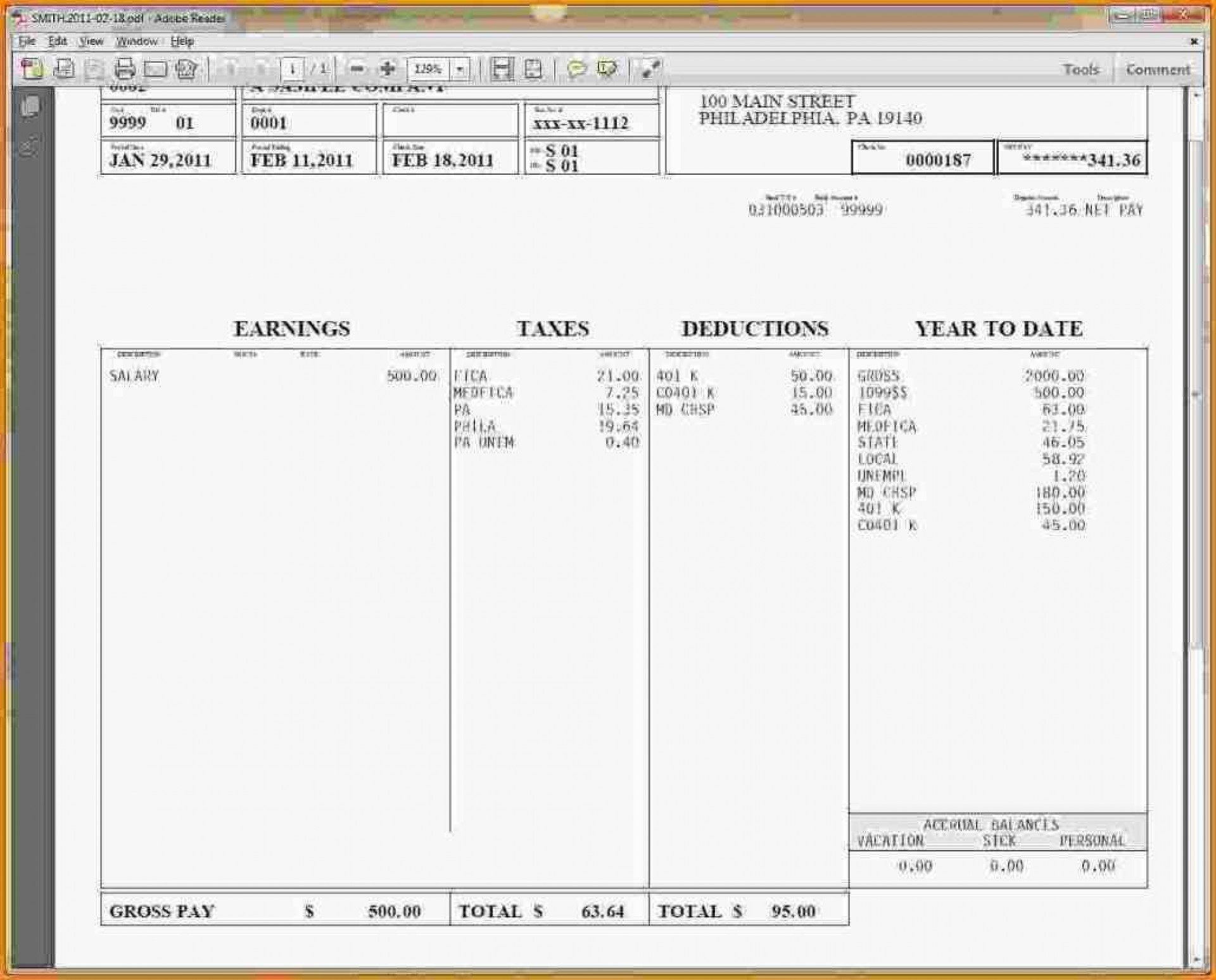 000 Beautiful Payroll Check Stub Template Design  Employee Pay Free Excel1920