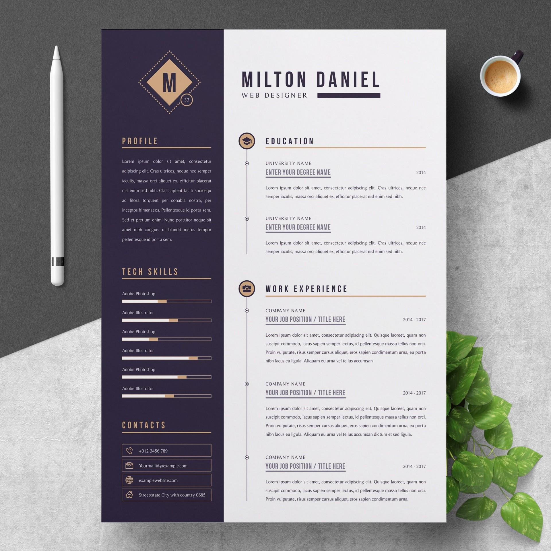 000 Beautiful Professional Resume Template Free Download Word Concept  Cv 2020 Format With Photo1920