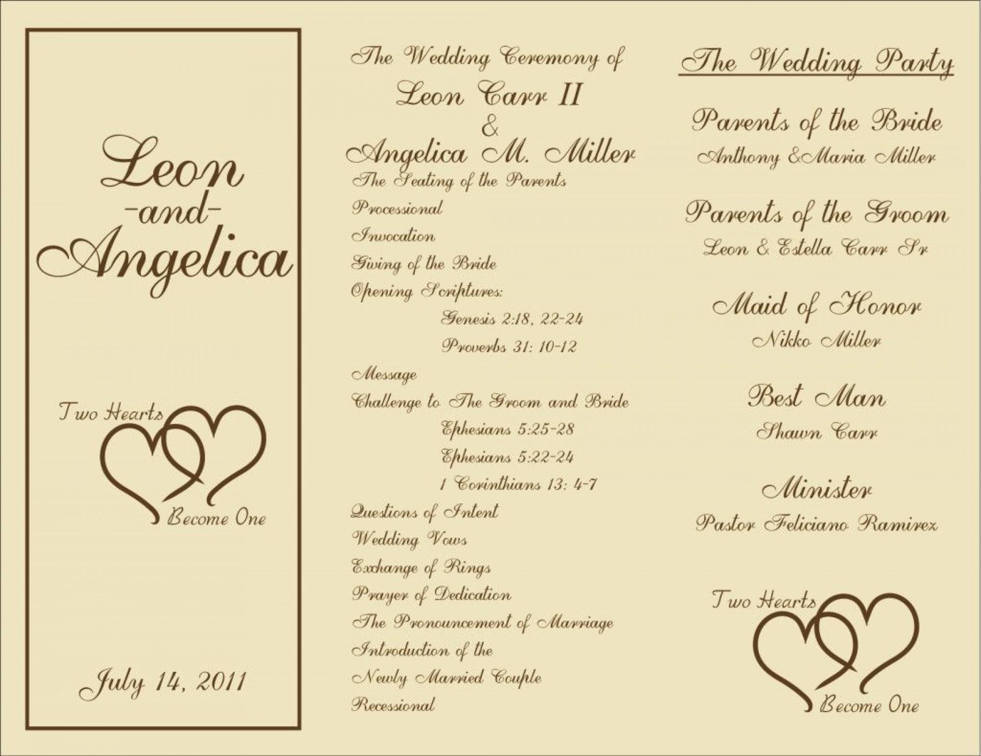 000 Beautiful Trifold Wedding Program Template Idea  Templates Tri Fold Tri-fold Publisher Free Foldable1920