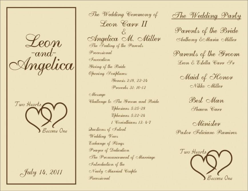 000 Beautiful Trifold Wedding Program Template Idea  Templates Free Printable Tri Fold Foldable Sample Tri-fold