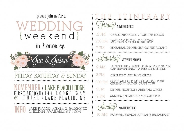 000 Beautiful Wedding Weekend Itinerary Template High Def  Day Timeline Word Sample728