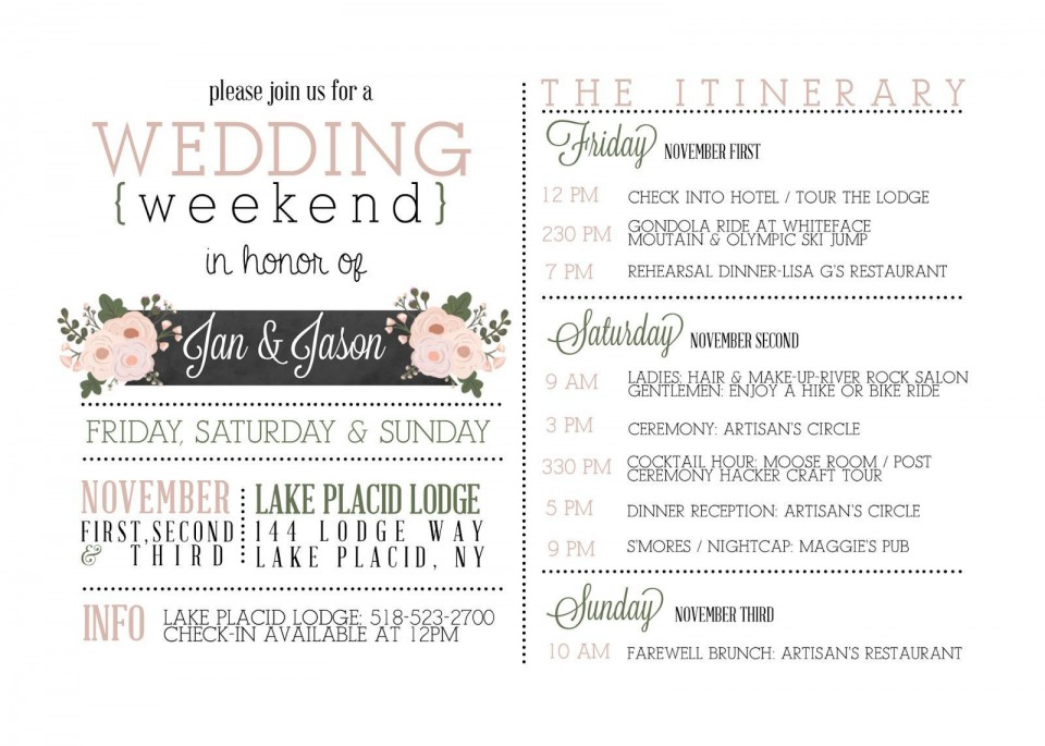 000 Beautiful Wedding Weekend Itinerary Template High Def  Day Timeline Word Sample960