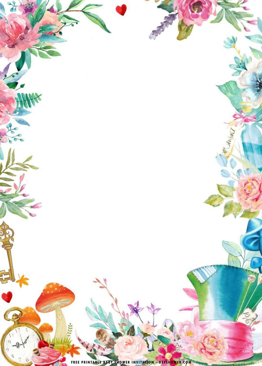 000 Best Alice In Wonderland Party Template Idea  Templates Invitation FreeLarge