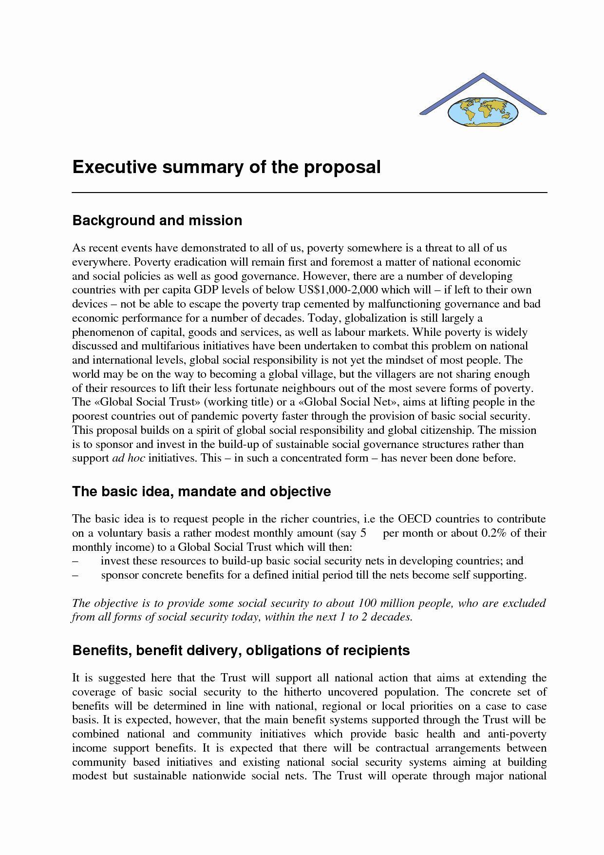 000 Best Executive Summary Template For Proposal. Idea  Sample Proposal Pdf ProjectFull