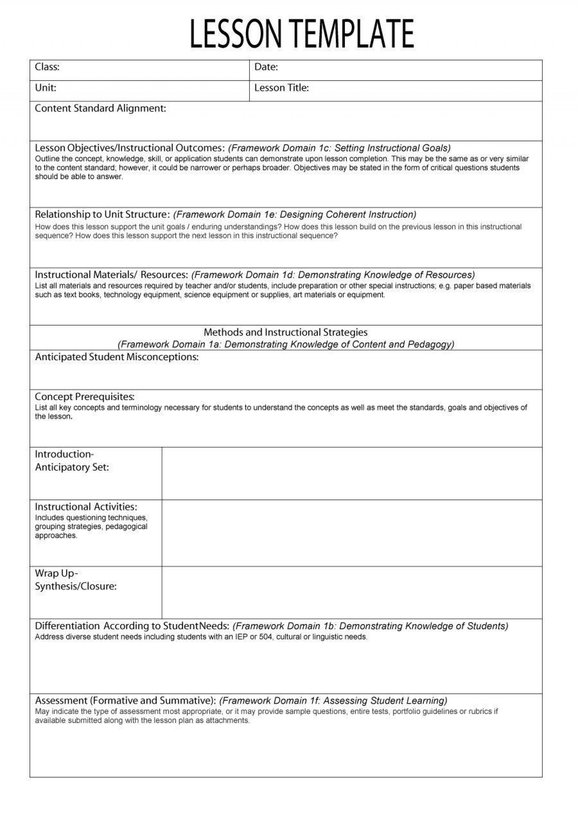 000 Best Kindergarten Lesson Plan Template With Common Core Standard Design  Sample Using1920
