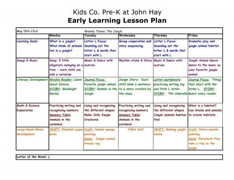 000 Best Lesson Plan Template For Preschool Inspiration  Format Teacher Free Printable480
