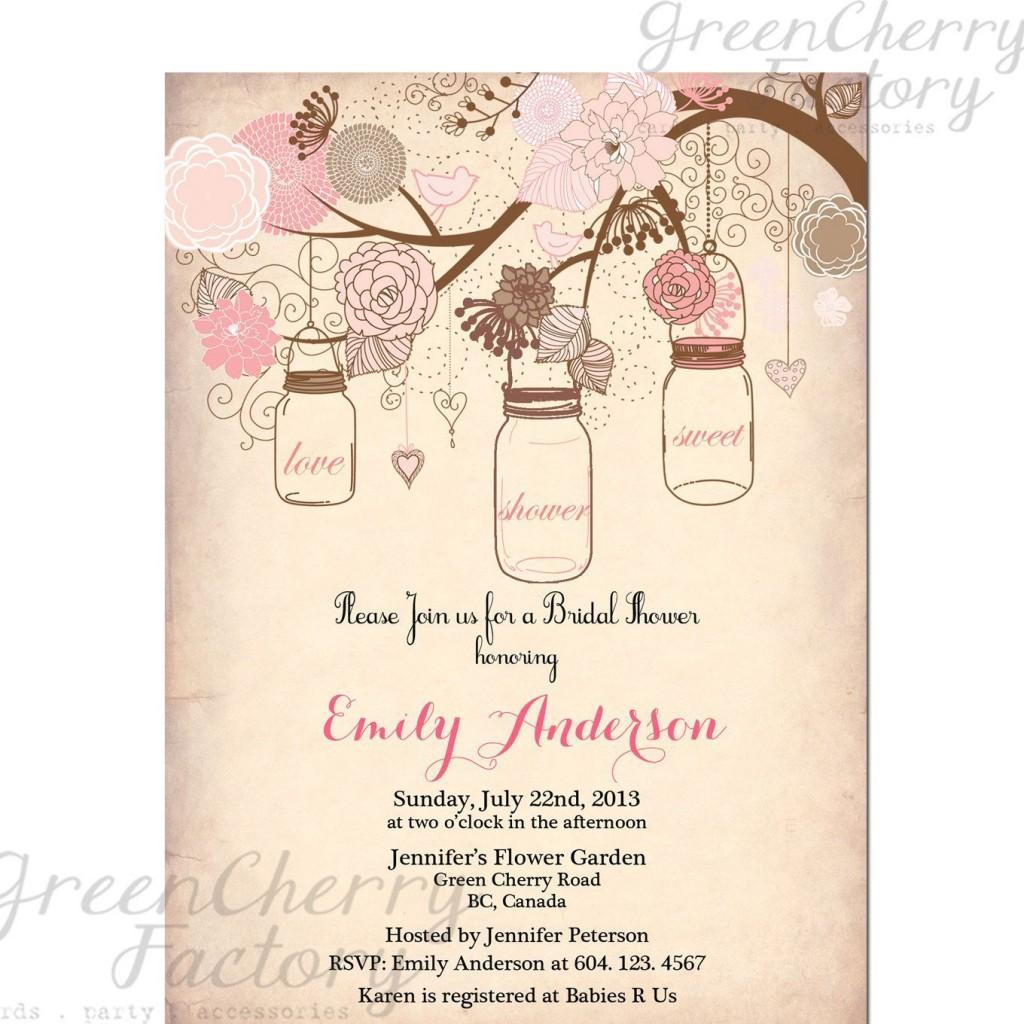000 Best Mason Jar Invitation Template Photo  Free Wedding Shower RusticLarge