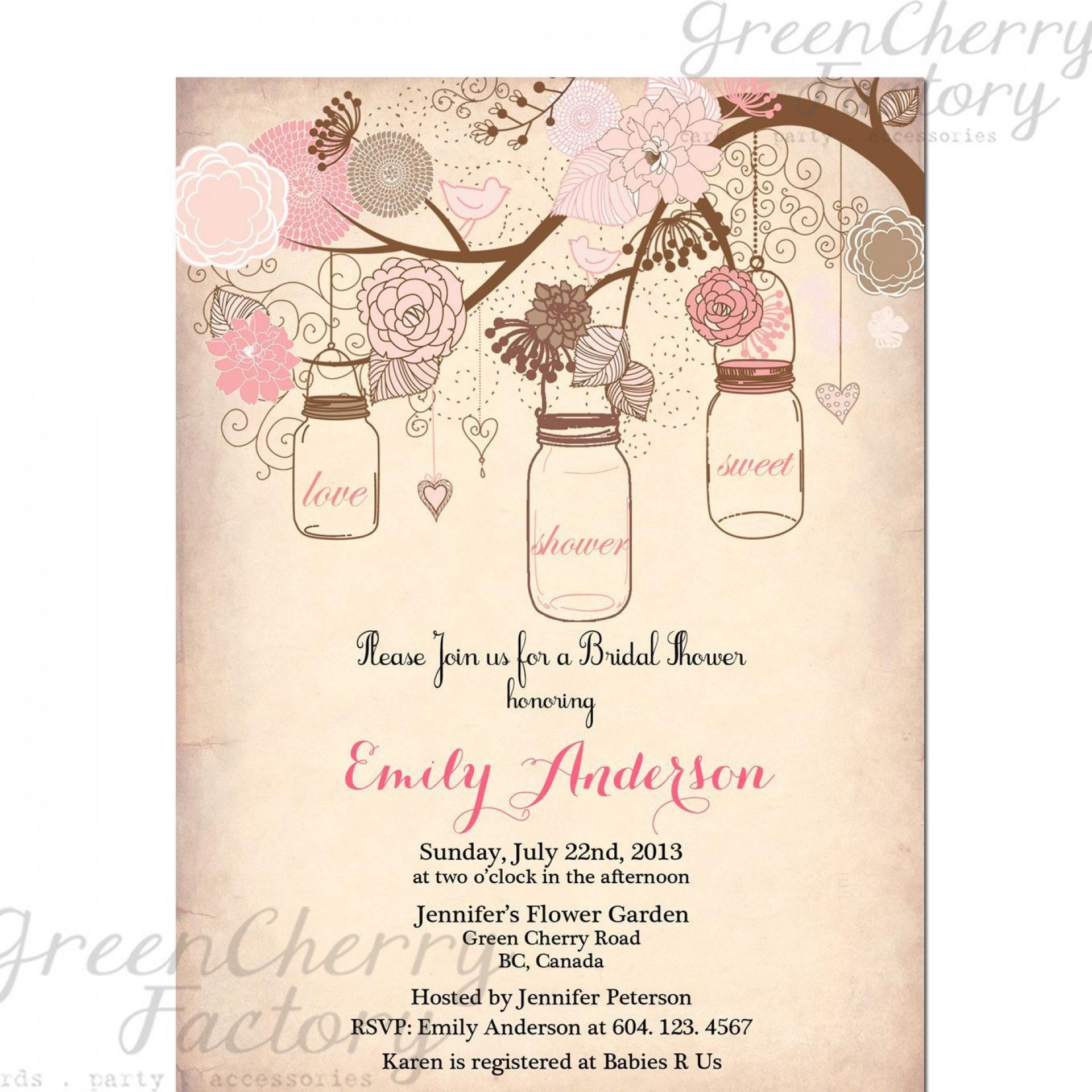 000 Best Mason Jar Invitation Template Photo  Free Wedding Shower Rustic1920