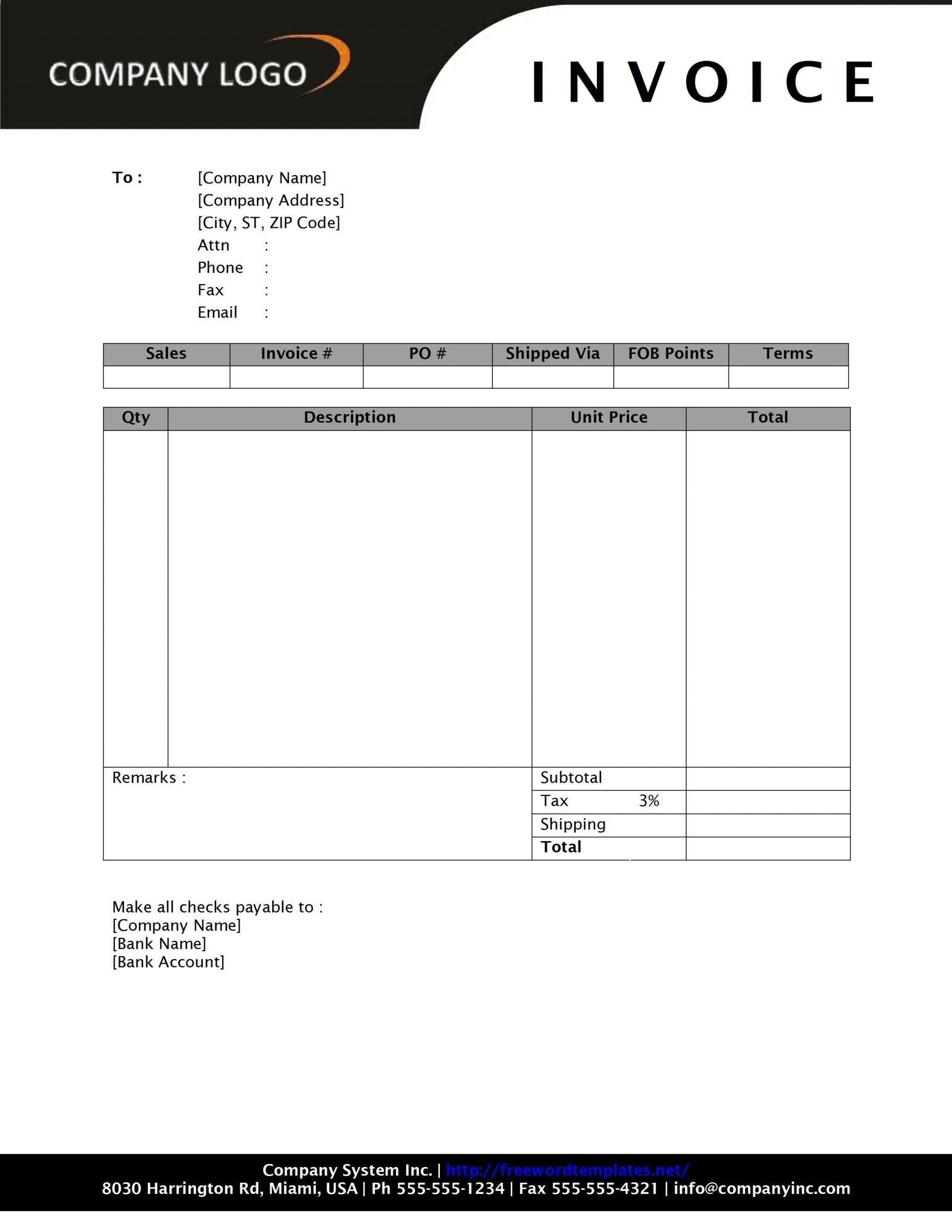 000 Best Microsoft Word Invoice Template Free Idea  Tax Office M Download1920