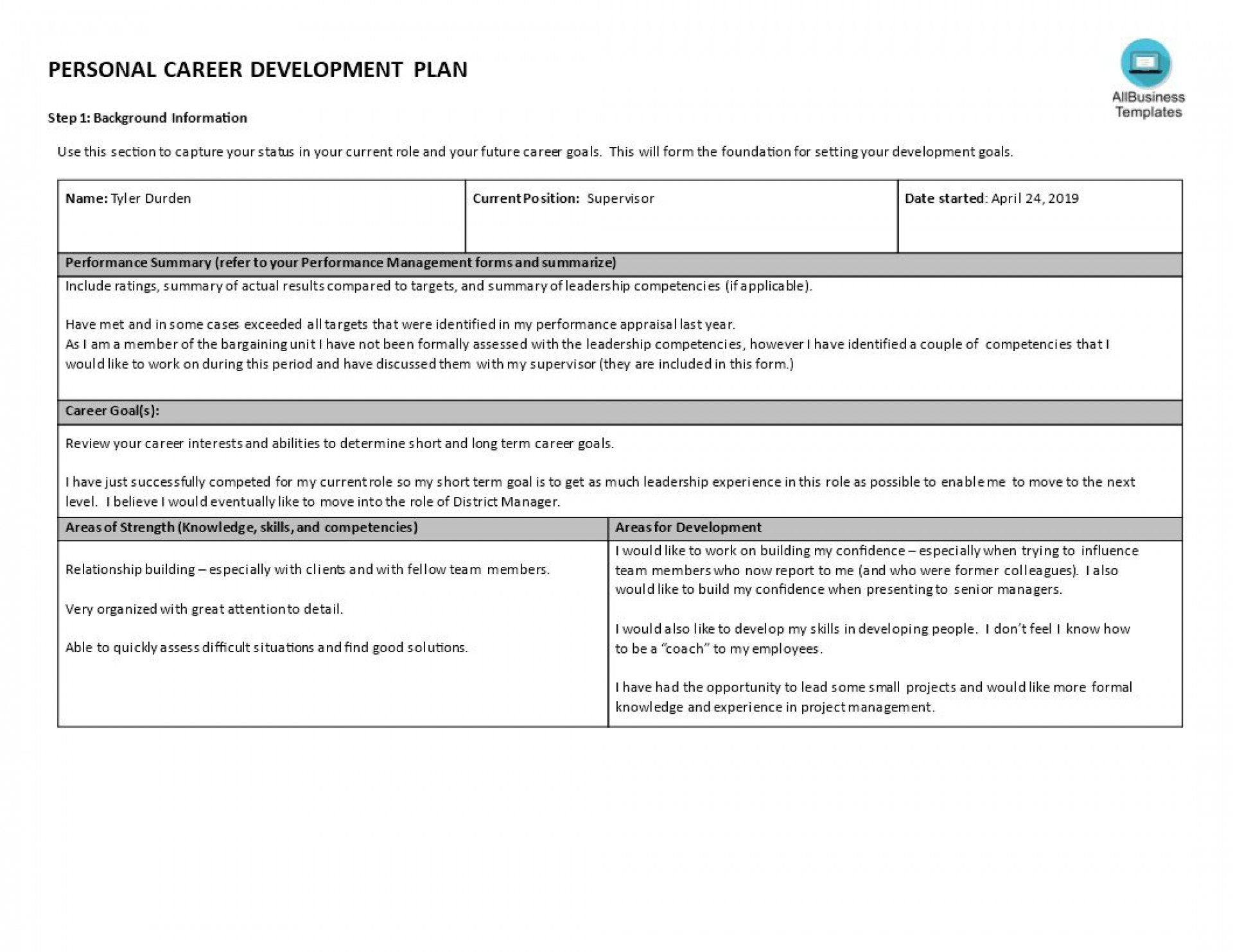 000 Best Professional Development Plan Template Highest Quality  Example For Manager Excel1920