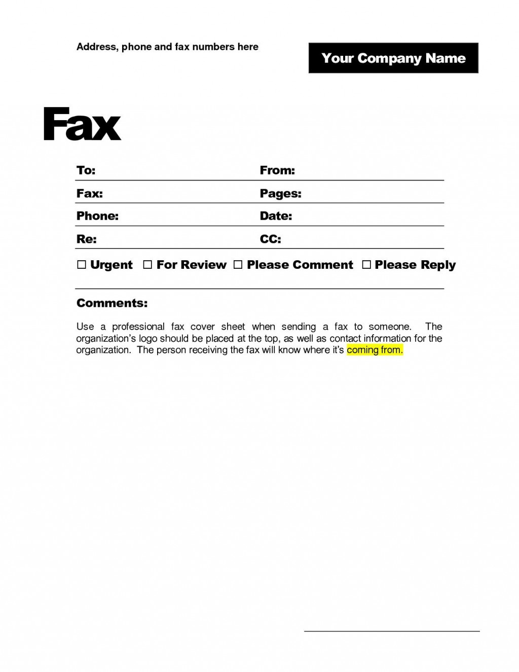 000 Breathtaking Fax Template Microsoft Word Inspiration  Cover Sheet 2010 Letter BusinesLarge
