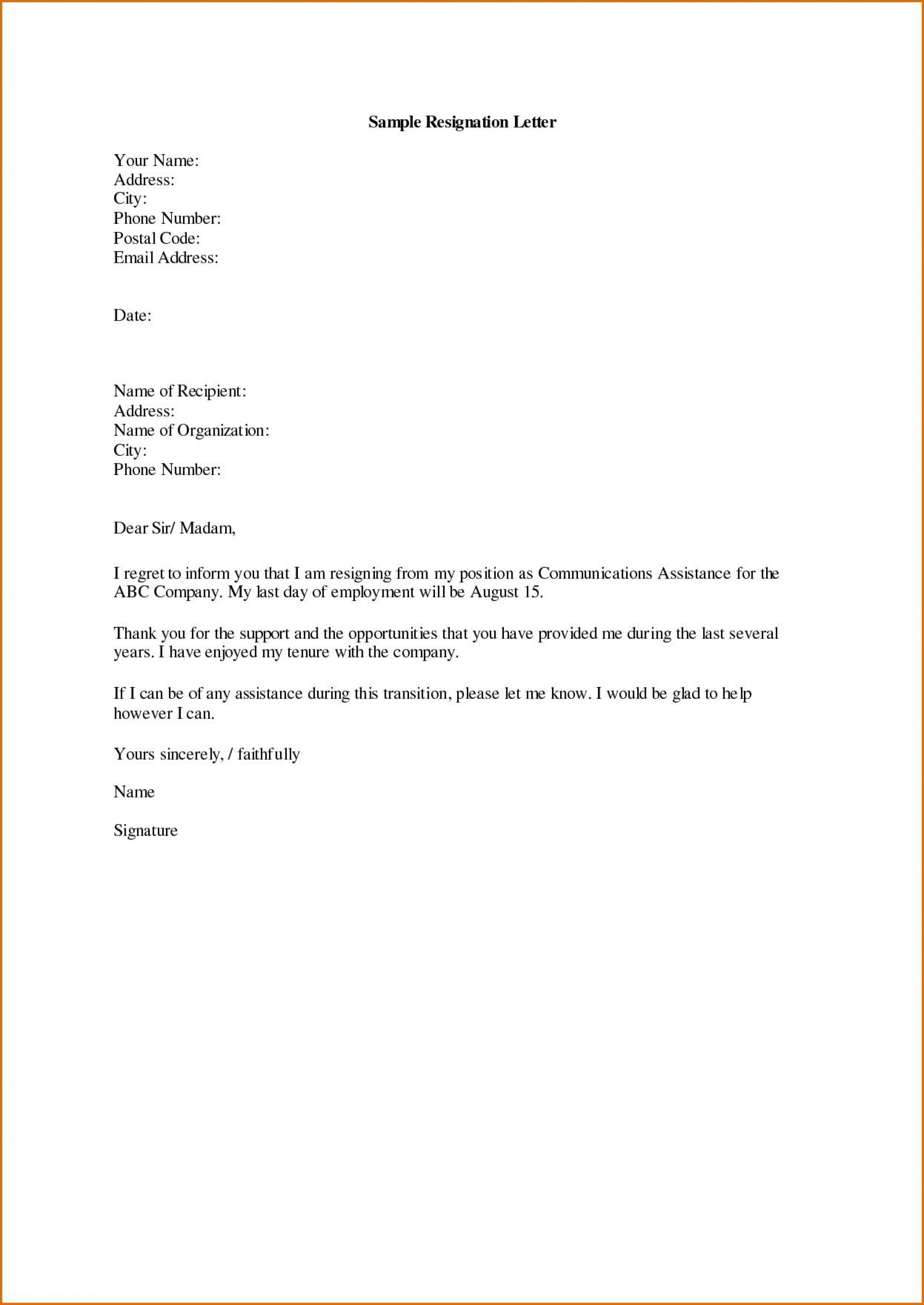 Letter Of Resignation Templates from www.addictionary.org