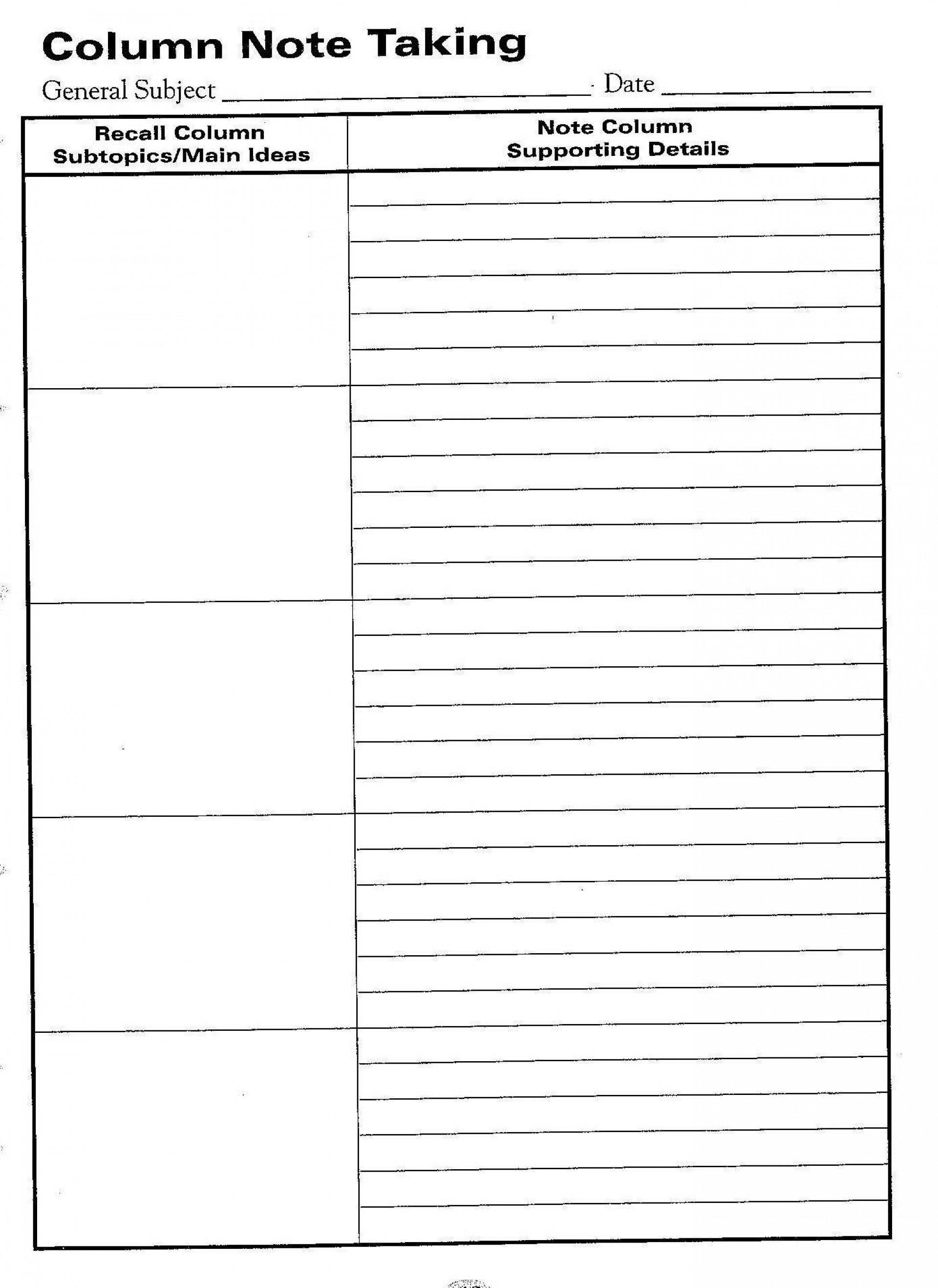 000 Breathtaking Note Taking Template Pdf Picture  Free Cornell Example1920