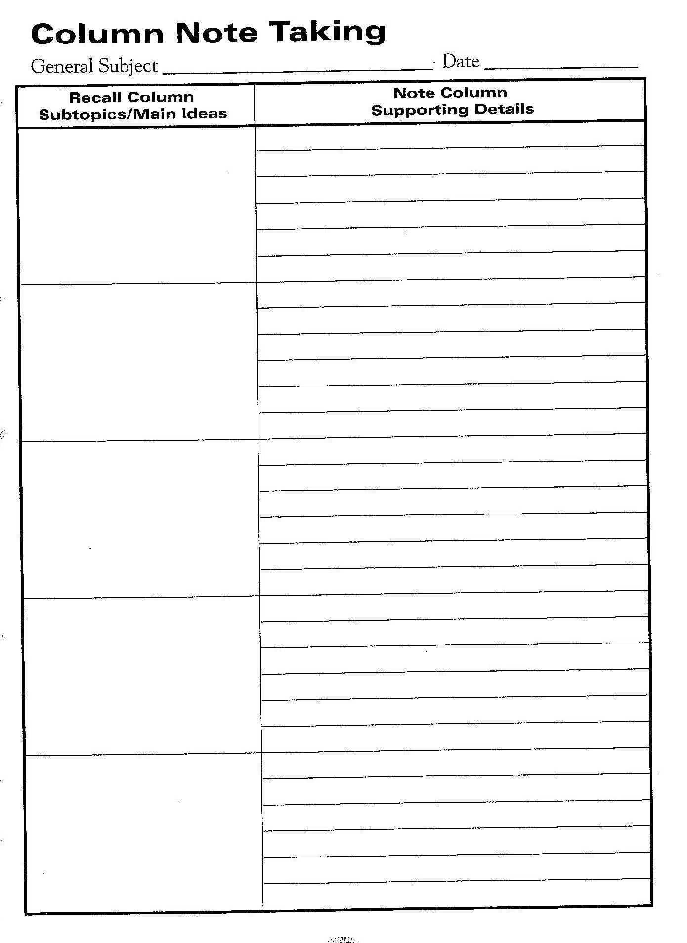 000 Breathtaking Note Taking Template Pdf Picture  Free Cornell ExampleFull