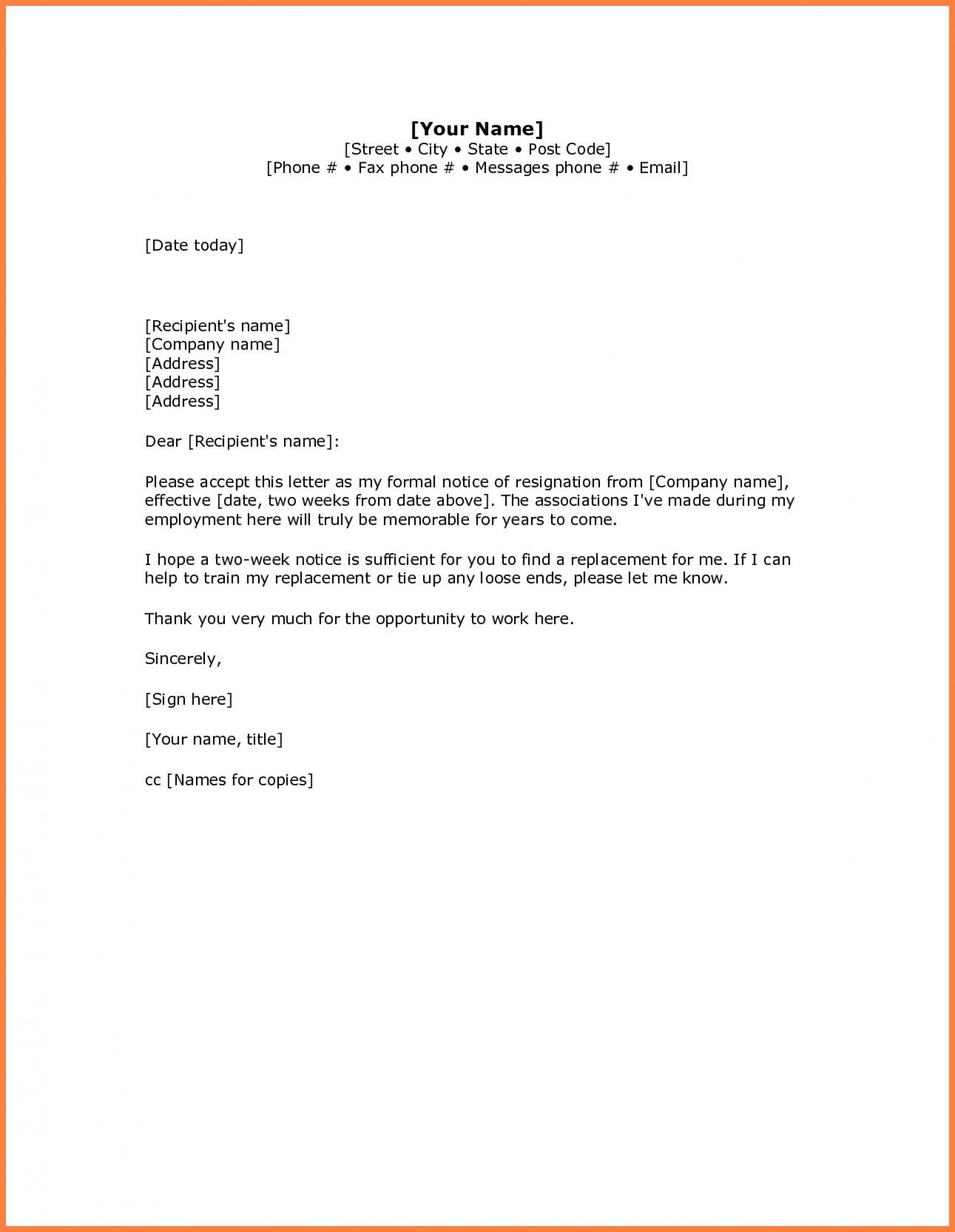 Resignation Letter Template Word Addictionary