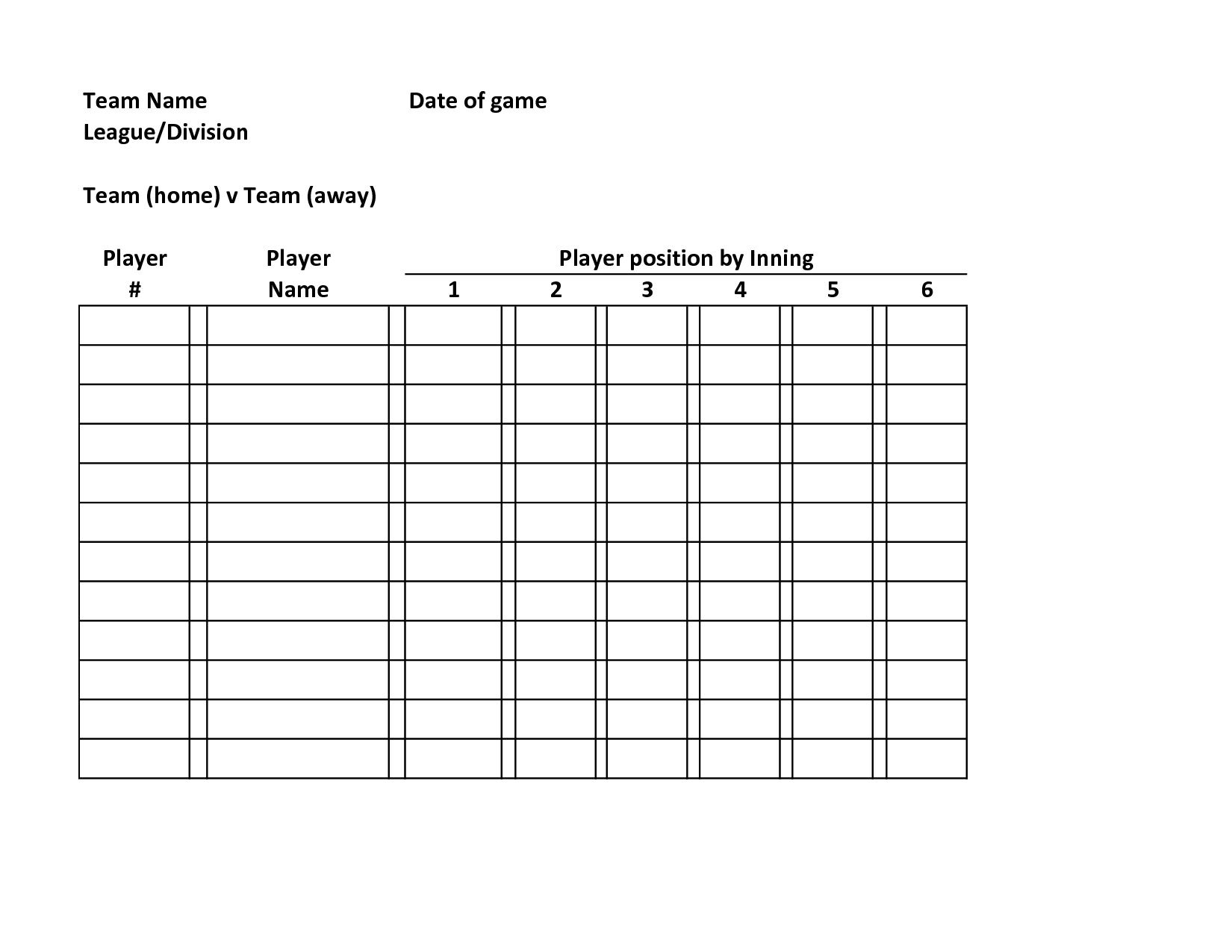 000 Breathtaking Softball Lineup Template Excel Highest Clarity  Batting Card RosterFull