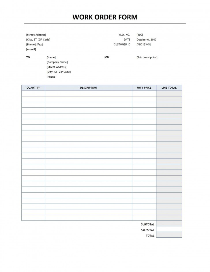 000 Breathtaking Work Order Form Template Inspiration  Request Excel Advertising Company Free728