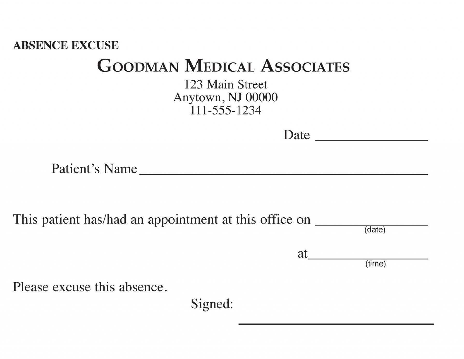 Doctor Excuse For Work Template Addictionary