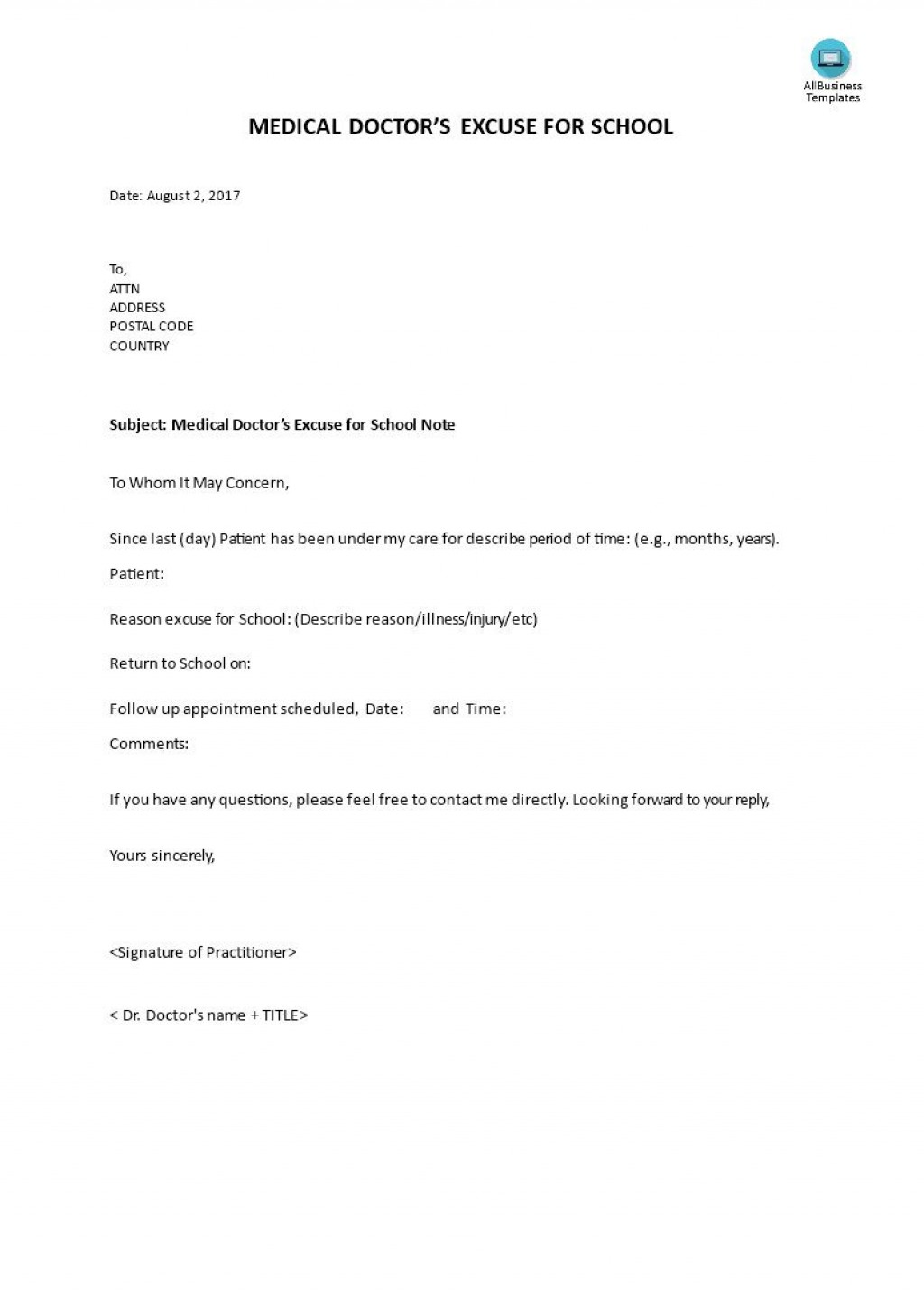 000 Dreaded Doctor Note For School Template Picture  Example FakeLarge
