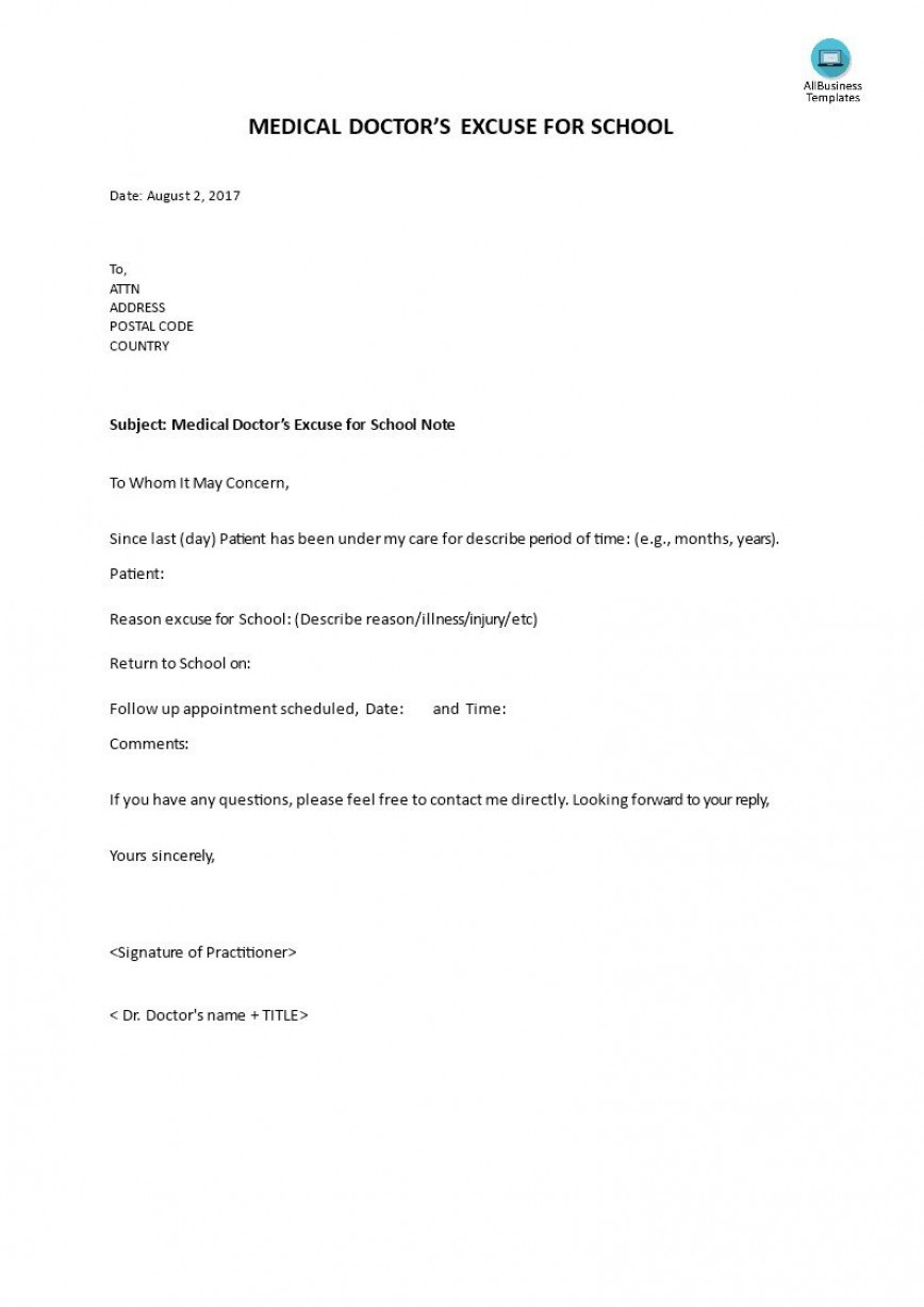 000 Dreaded Doctor Note For School Template Picture  Absence Doctor' Sample Example