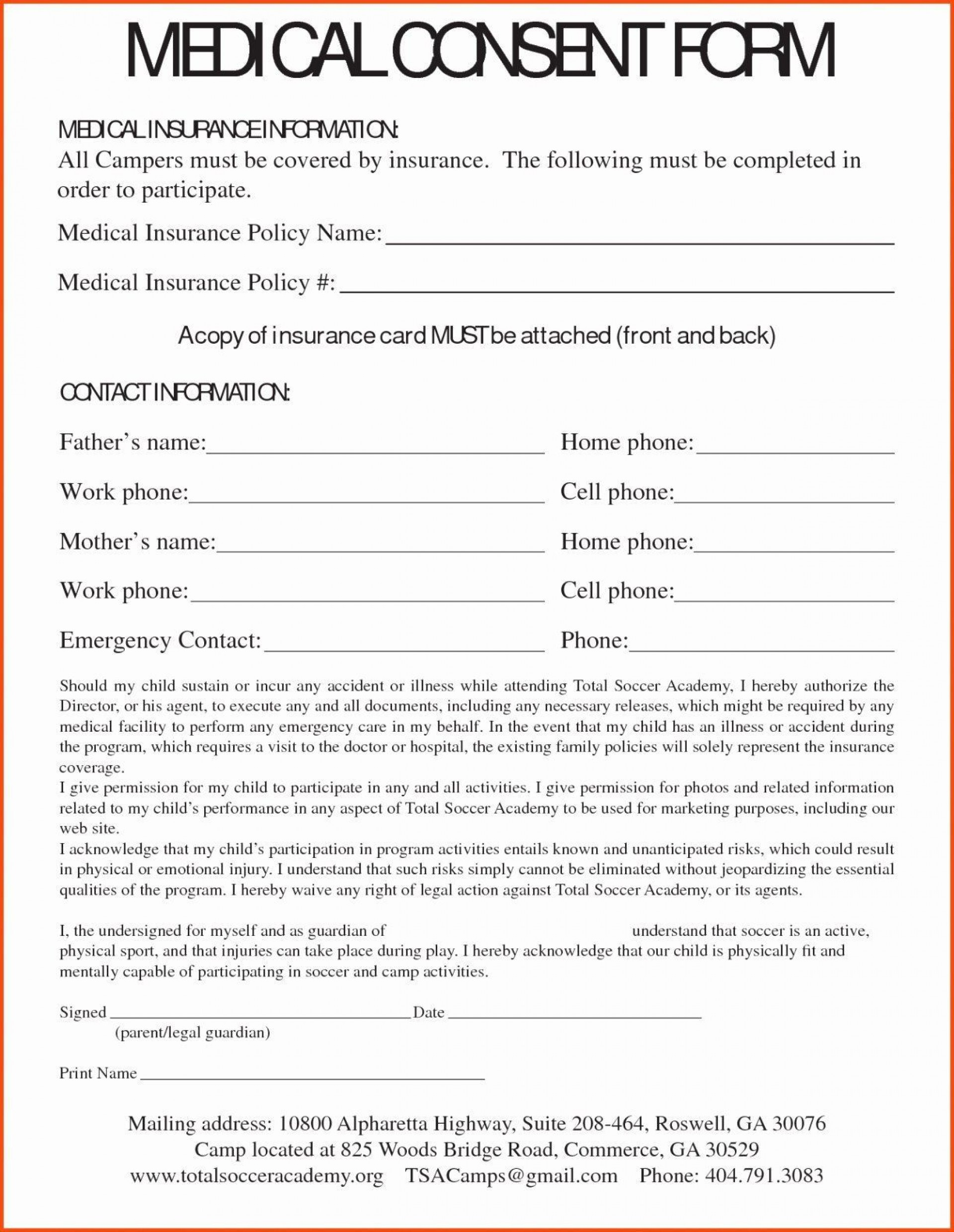 000 Dreaded Free Child Medical Consent Form Template High Resolution  Pdf1920