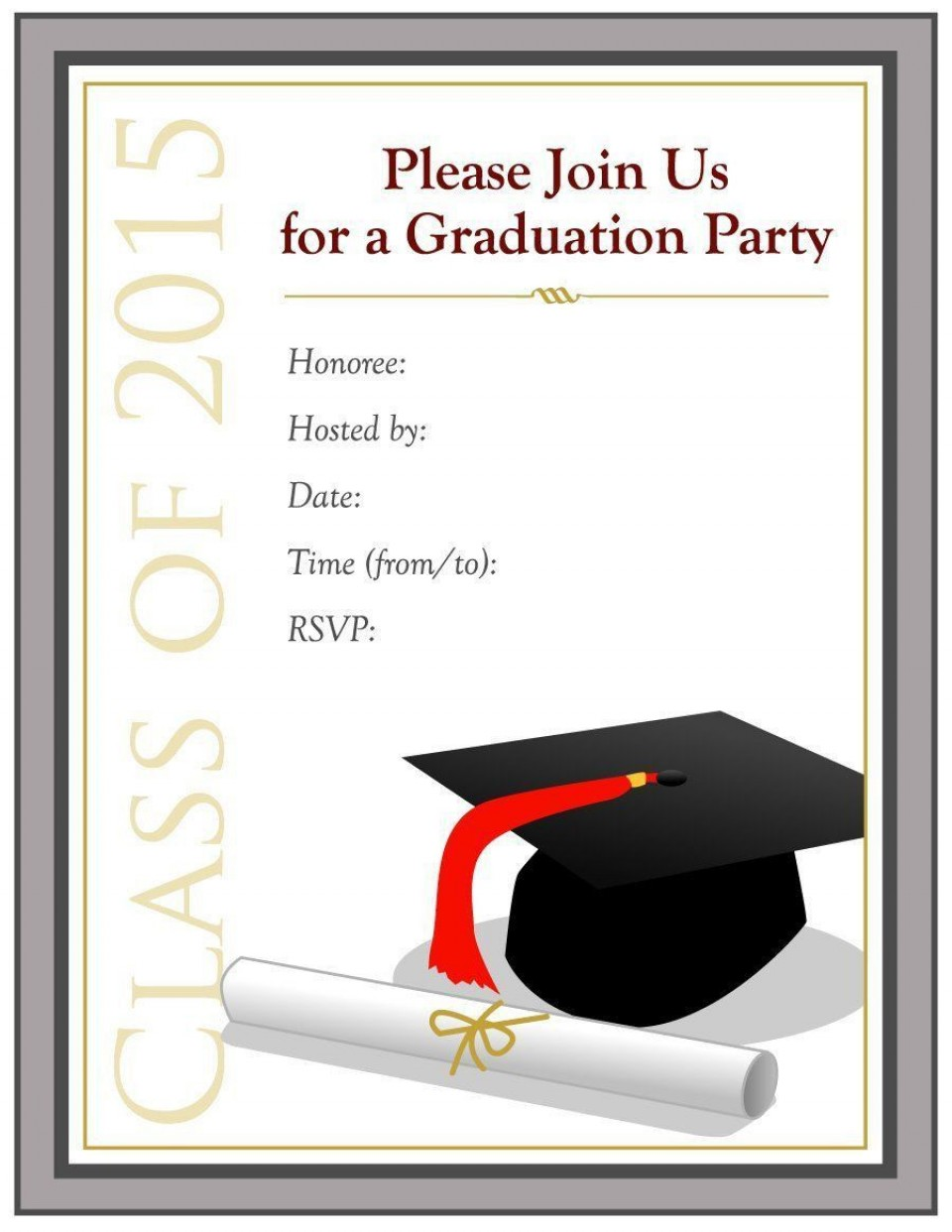 000 Dreaded Free Printable Graduation Invitation Template High Definition  Party For Word960