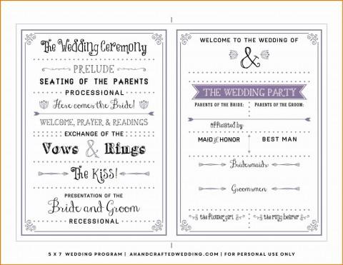 000 Dreaded Free Template For Wedding Ceremony Program Inspiration 480