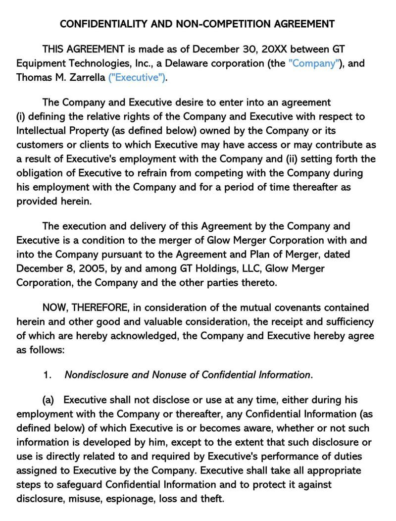000 Dreaded Non Compete Agreement Template Word Example  Microsoft Non-compete FreeFull