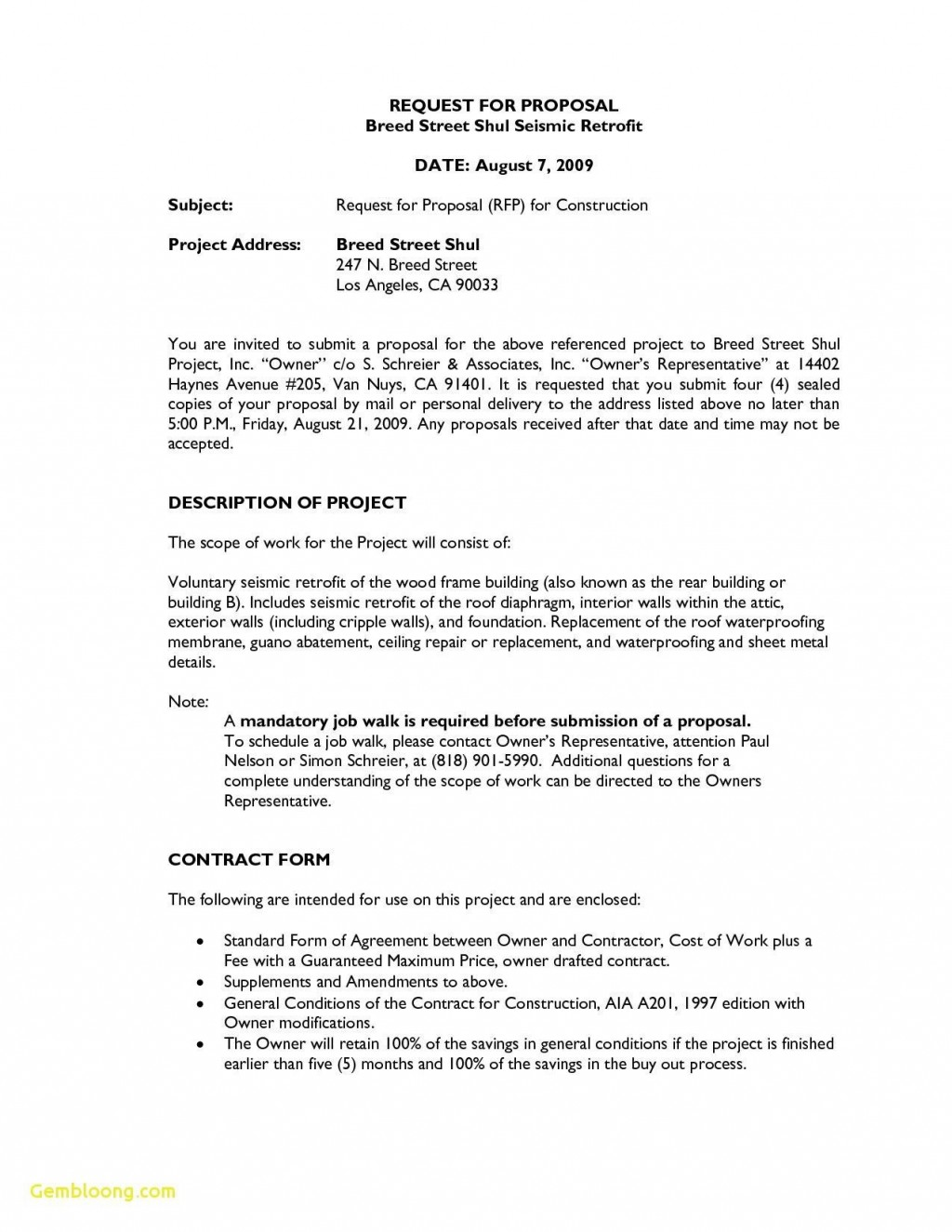 000 Dreaded Request For Proposal Template Construction Example  Rfp ResidentialLarge